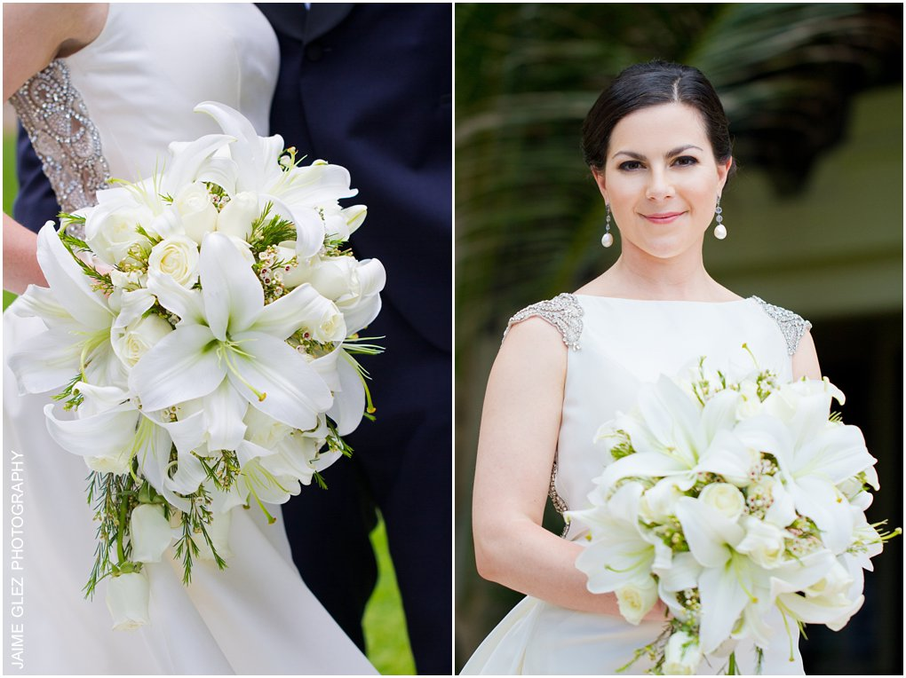 Elegant and fresh bridal bouquet of white lilies.