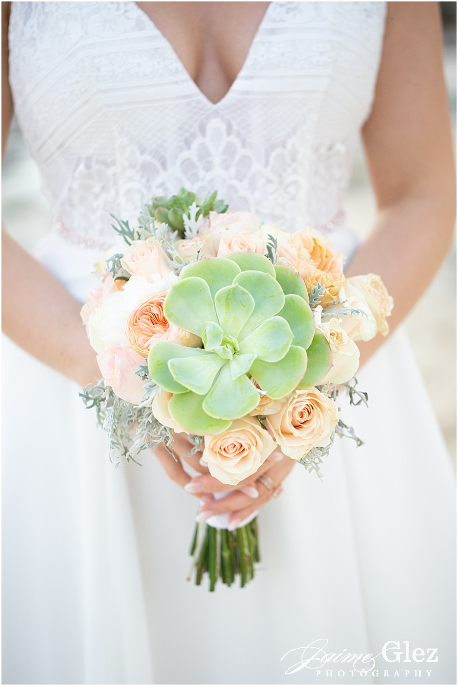 Natural and lovely succulent wedding bouquet.