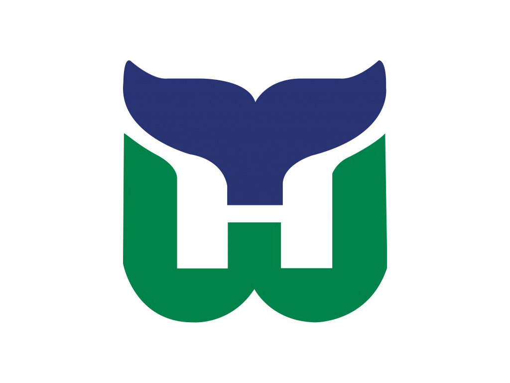 The original Hartford Whalers logo (1979–1992), designed by Peter Good, a Connecticut-based graphic designer.