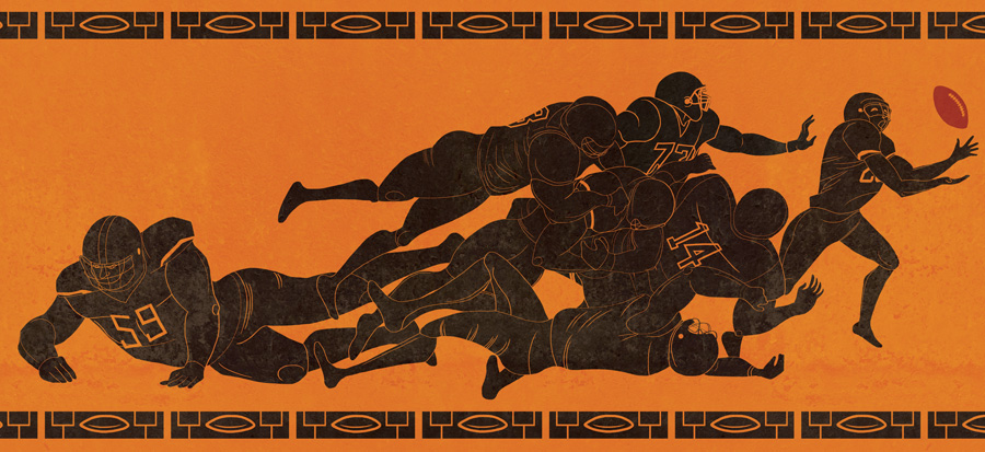 Inspired by ancient Greek pottery, this illustration is about the significance of football in American culture.