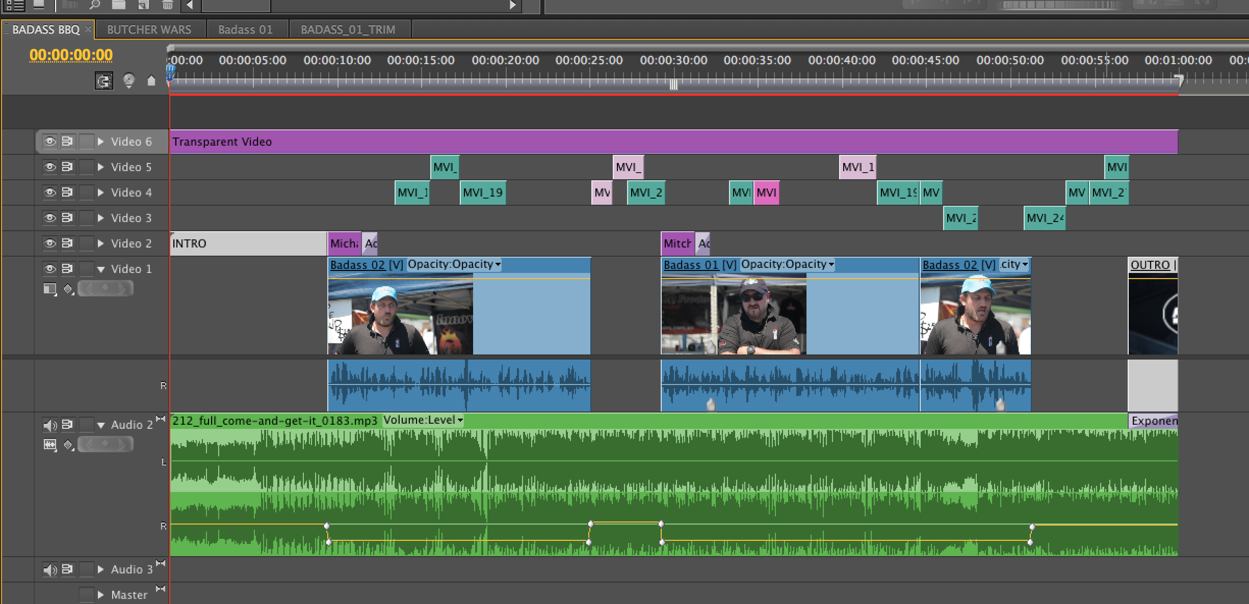 You can also see that Intro and Outro are also nested sequences - which stay constant across a number of projects.