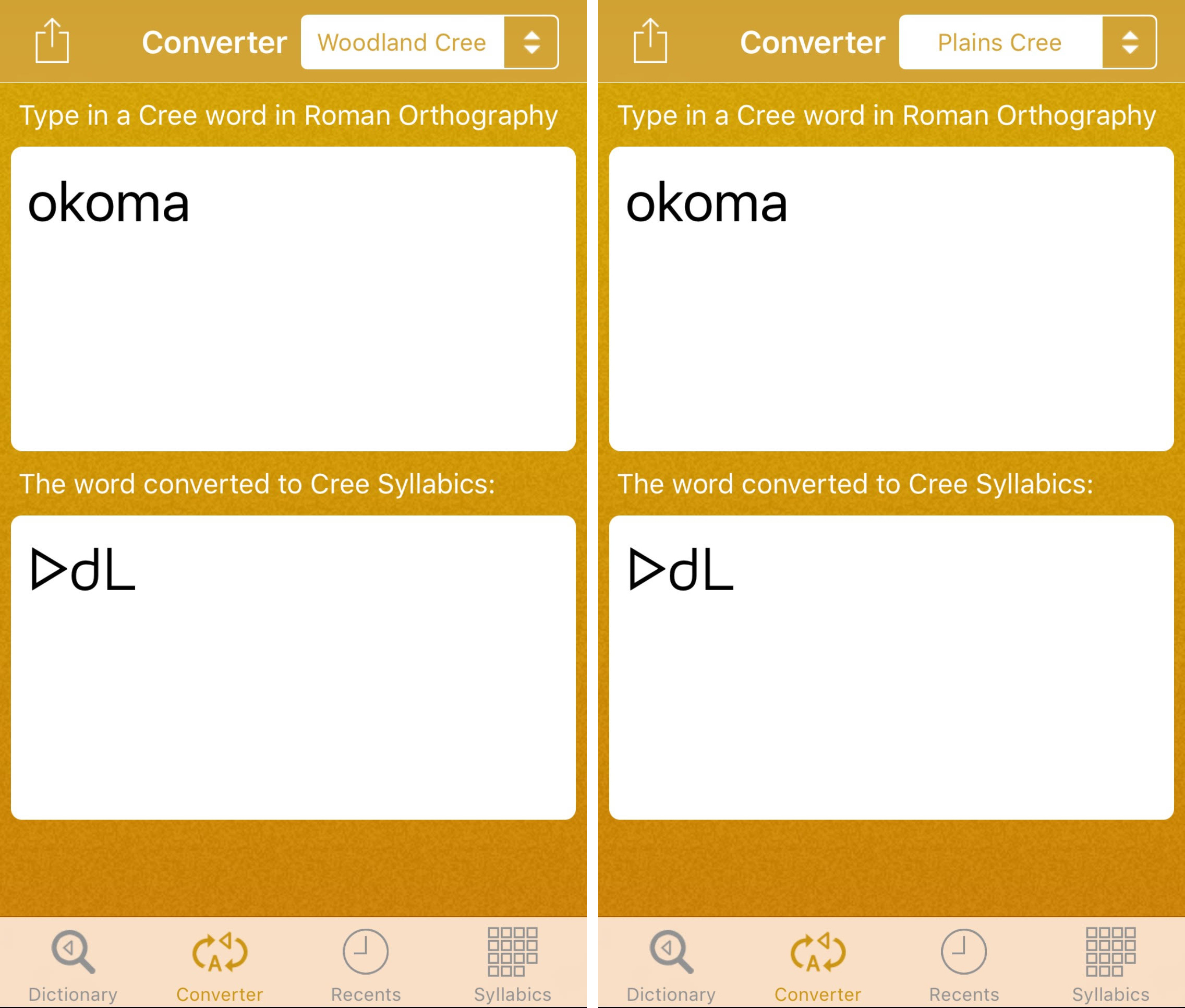 Two screen shots of roman type in a converter to Woodland and Plains Cree syllabics