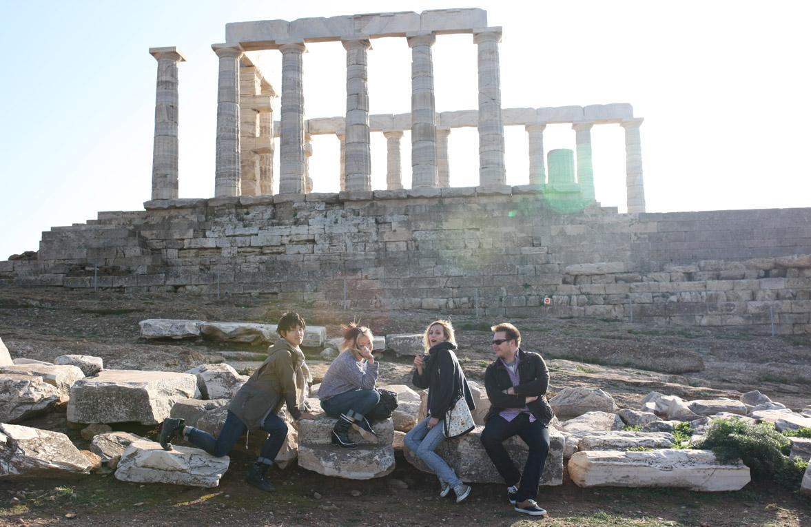 Temple of Poseidon, Greece. Charles, Riki, Titika, Alexandros