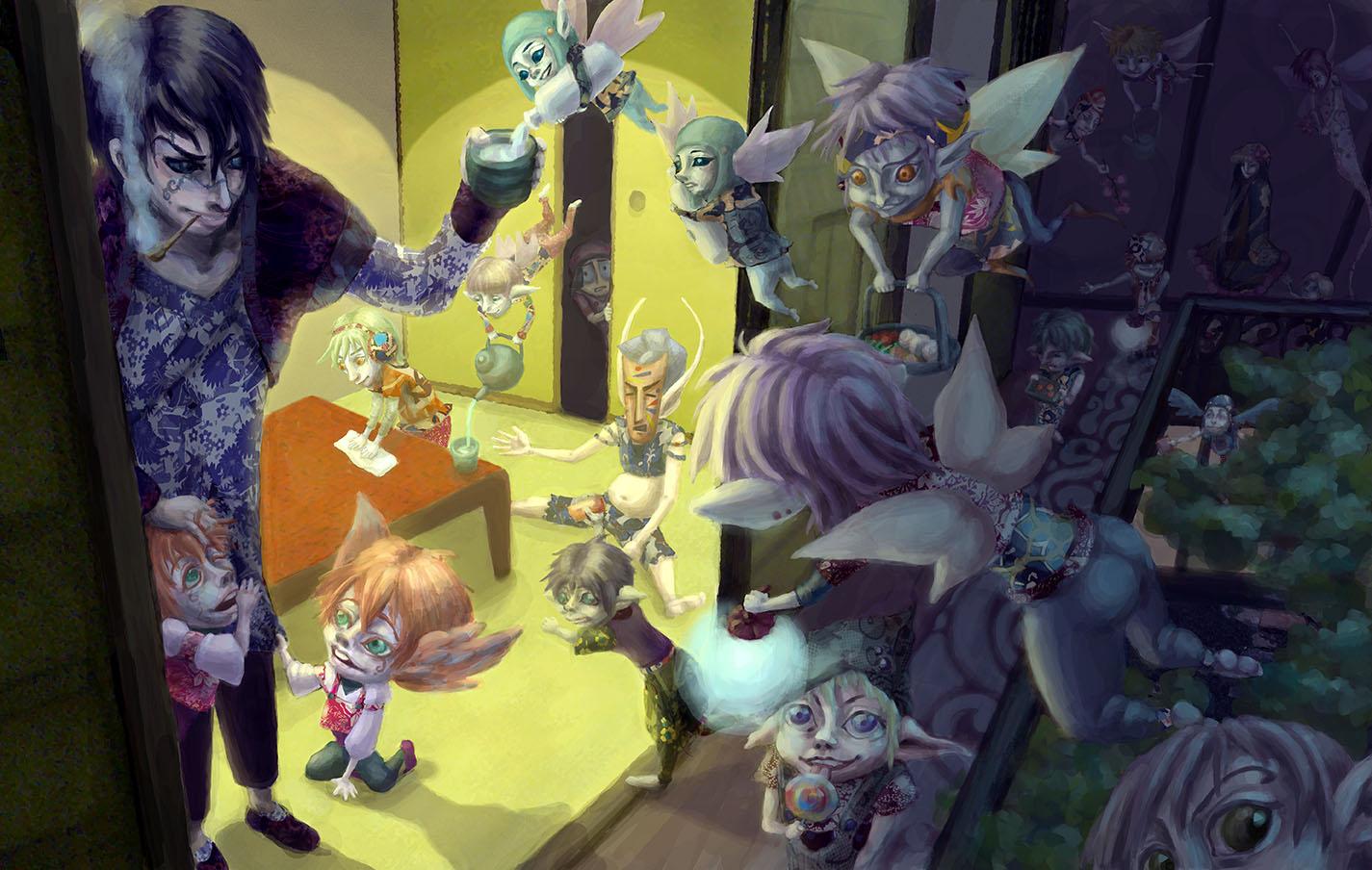 Koba's House - After Dinner / Original illustration as a narrative series / Digital Illustration