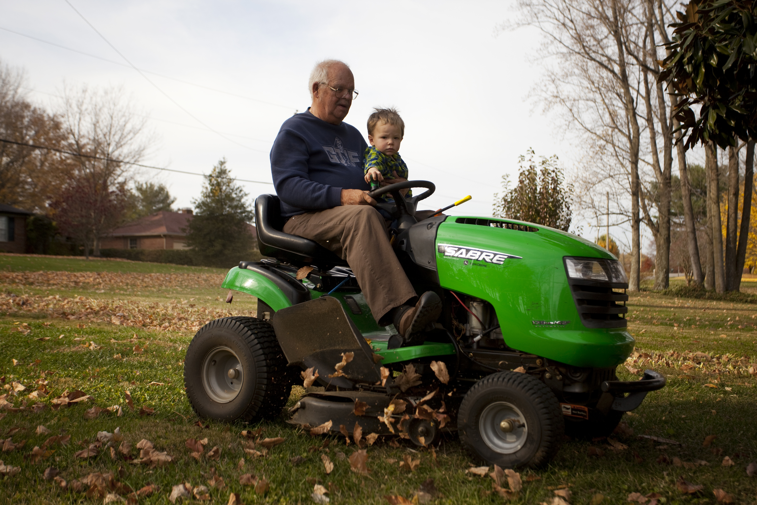 """Larry Raymer, of Bowling Green, Ky., enjoys spending time with his great grandson, 2-year-old Bryson, """"He's my boy,"""" said Raymer."""