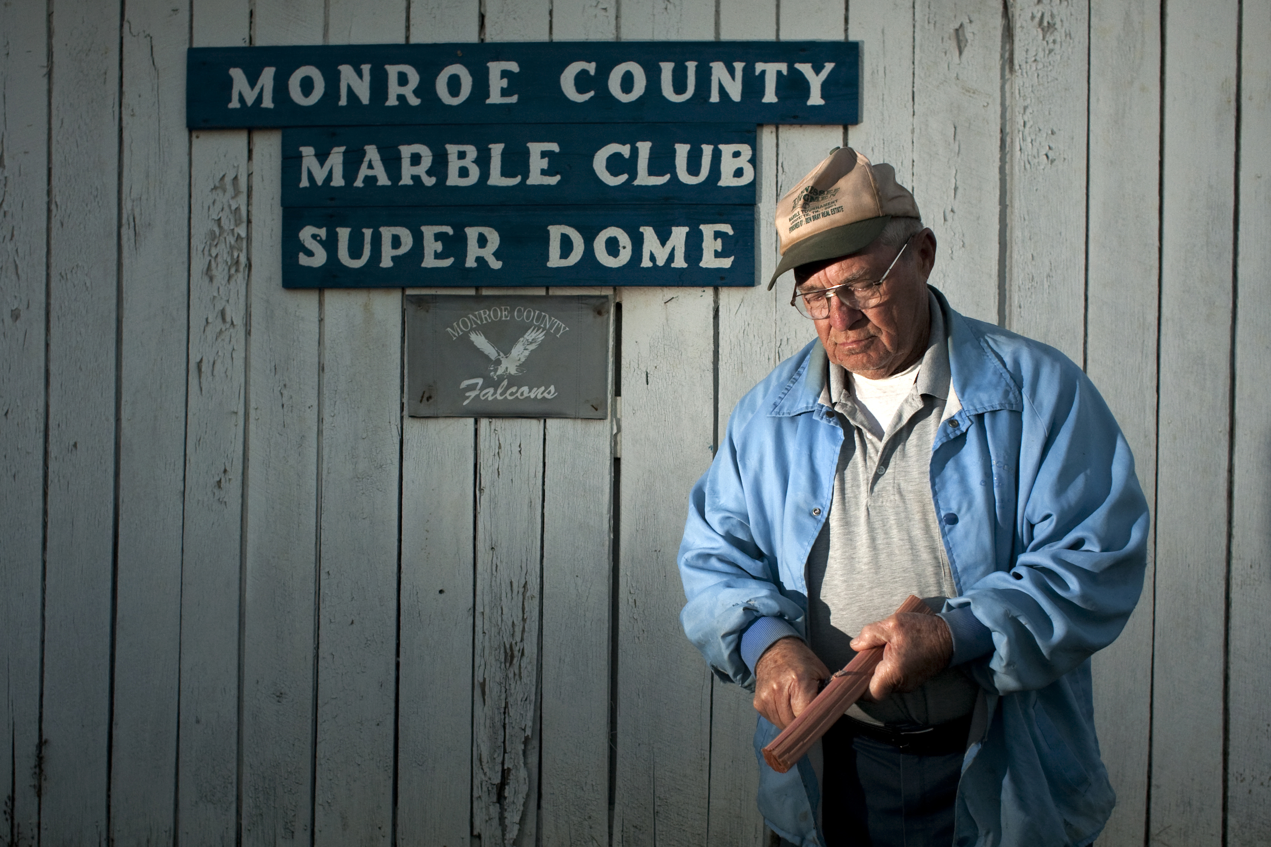 Colonel Bowman was a founding member of the Monroe County Marble Club Super Dome. He is there everyday at 4 pm to open the doors and start the fire on cold days.