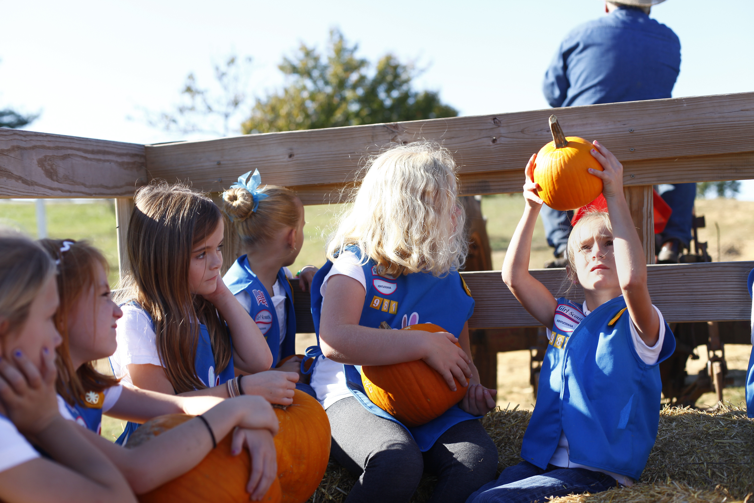 Ava Rich inspects her pumpkin. Her Girl Scout troop made a donation to a local charity before taking part in the fall festivities at Cullenook.