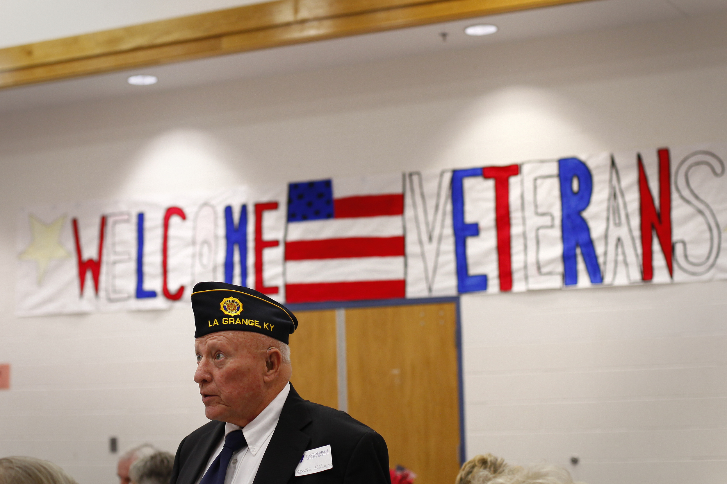 Air Force veteran Chester Fust, of La Grange, Ky., was one of the approximately  63 veterans invited to East Oldham Middle School for their celebration of the Armed Forces. The event was held November 13, as part of the schools monthly initiative to build school and community pride.
