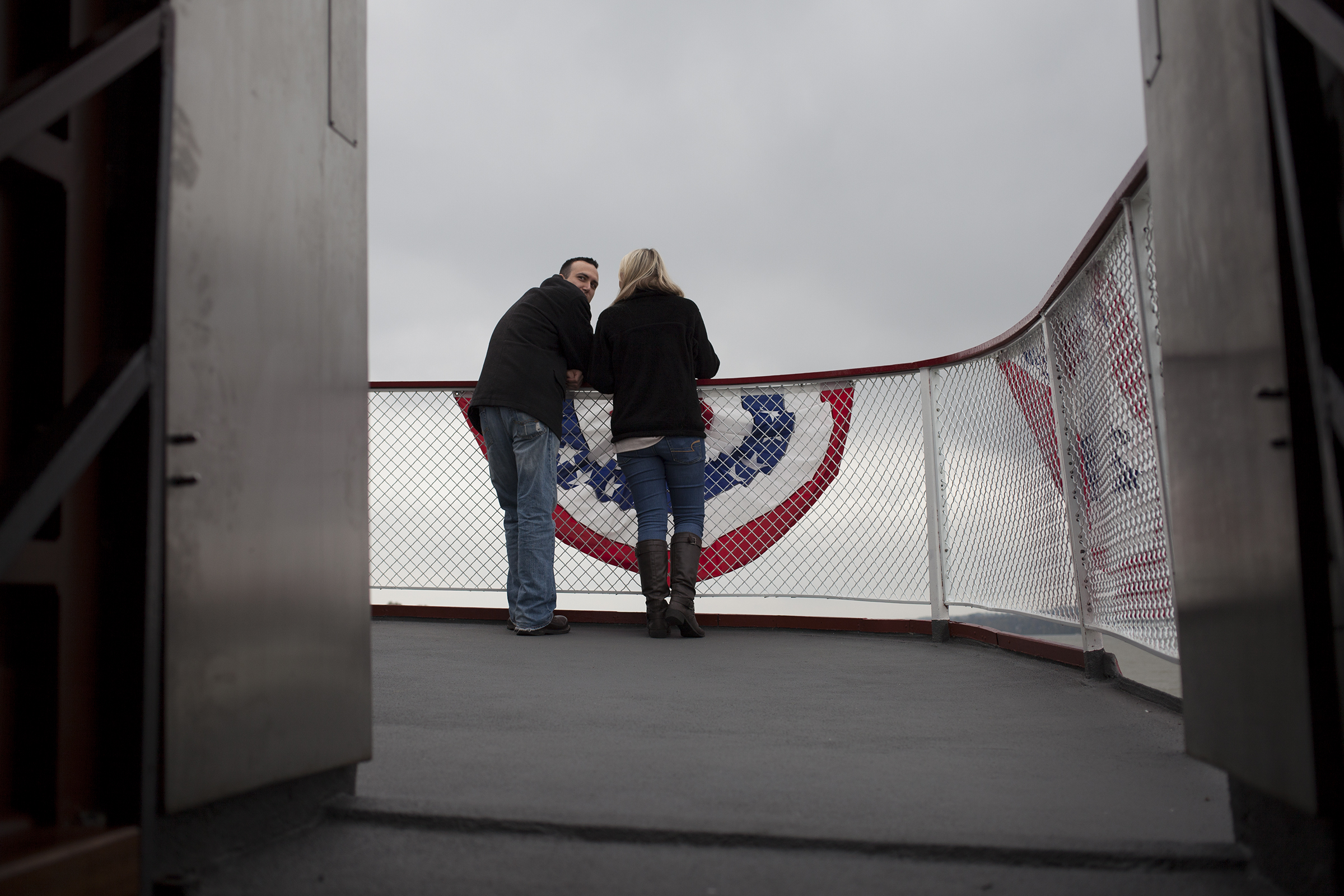 Mathew Lanhood and girlfriend Katie Keisler enjoy the view from the deck of the Belle of Louisville.