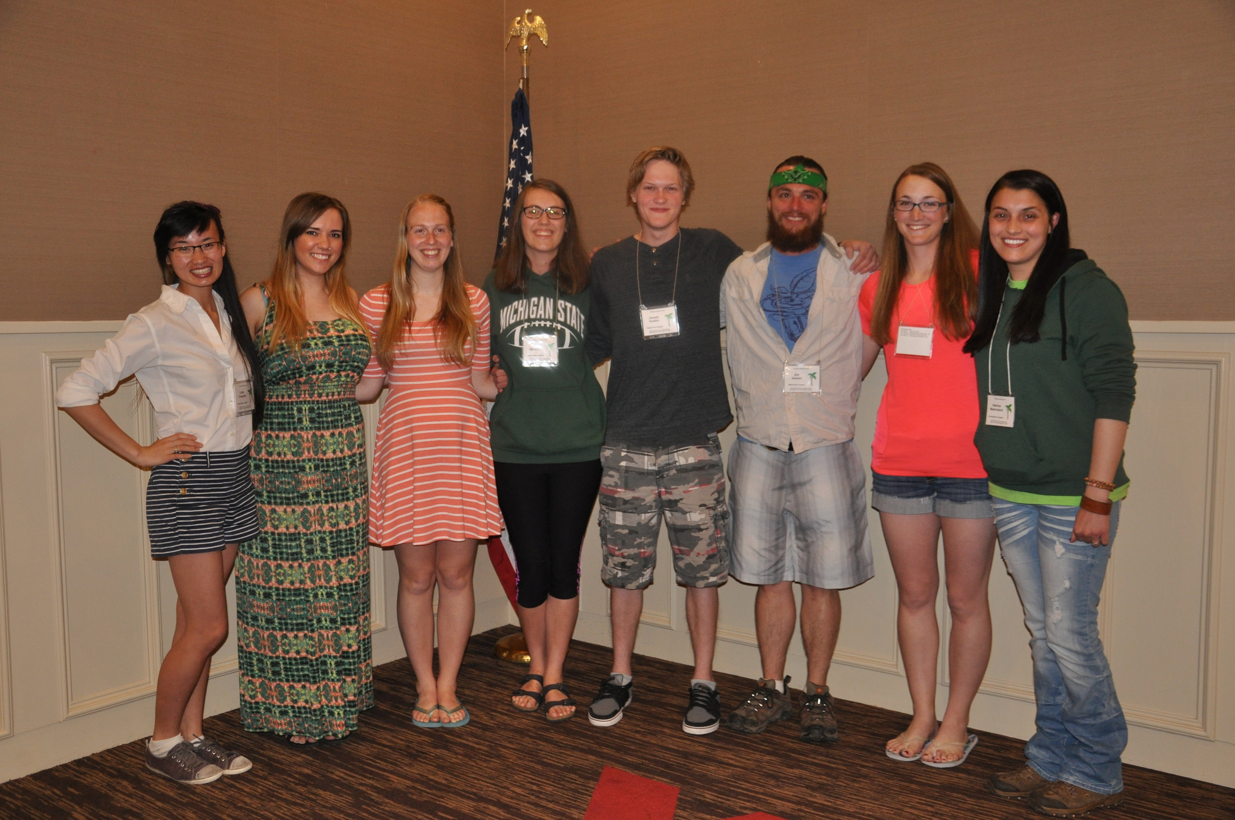 Sponsored students attending the 2015 Spring Foray in Saginaw, MI. Callie Chappell (HVC), Emily Van Staalduinem (WPC), Cortney Benson (WPC), Katie Manning (non-sponsored), Joseph Huston (WPC), Jim Jensen (WPC), Mary Martin (SEC), and Sabrina Mastroianni (SEC)