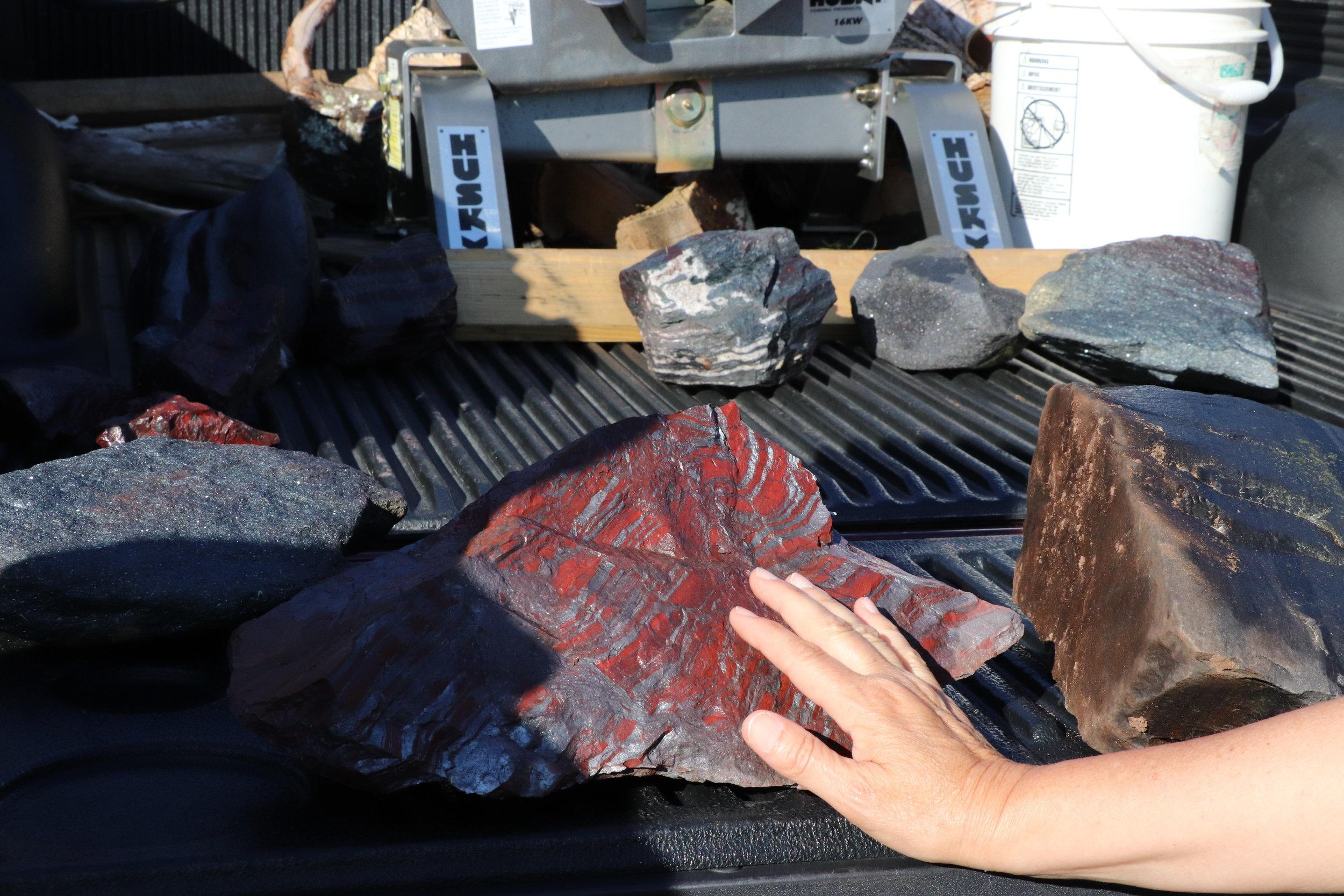 Jaspenlite - hematite with red quartz (jasper)