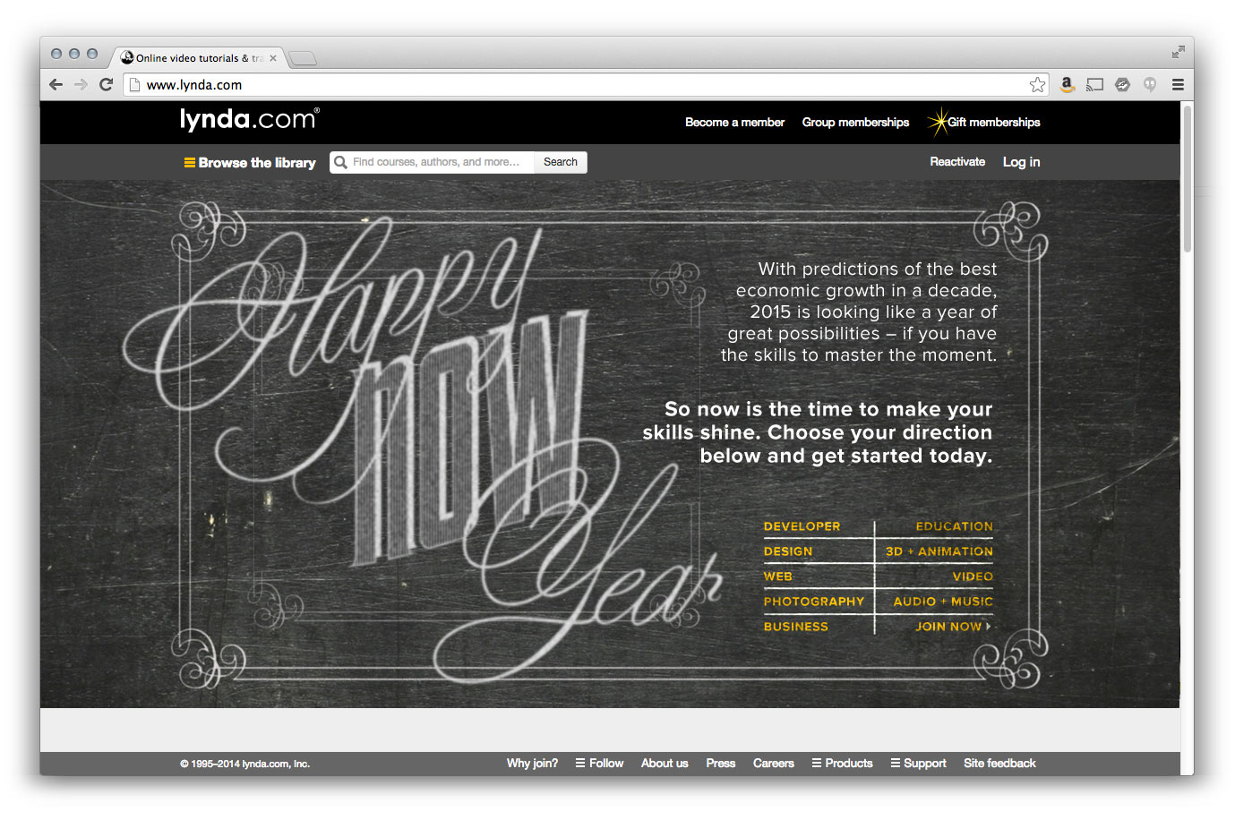 "Landing page: Lynda - ""Happy 'Now' Year"