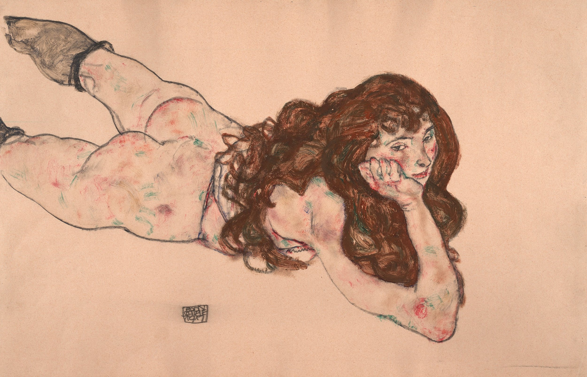 Egon Schiele |  Nude on her stomach, 1917