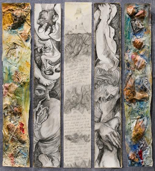 """La Corbiere"" 2010 Mixed media on paper on fabric covered core board."