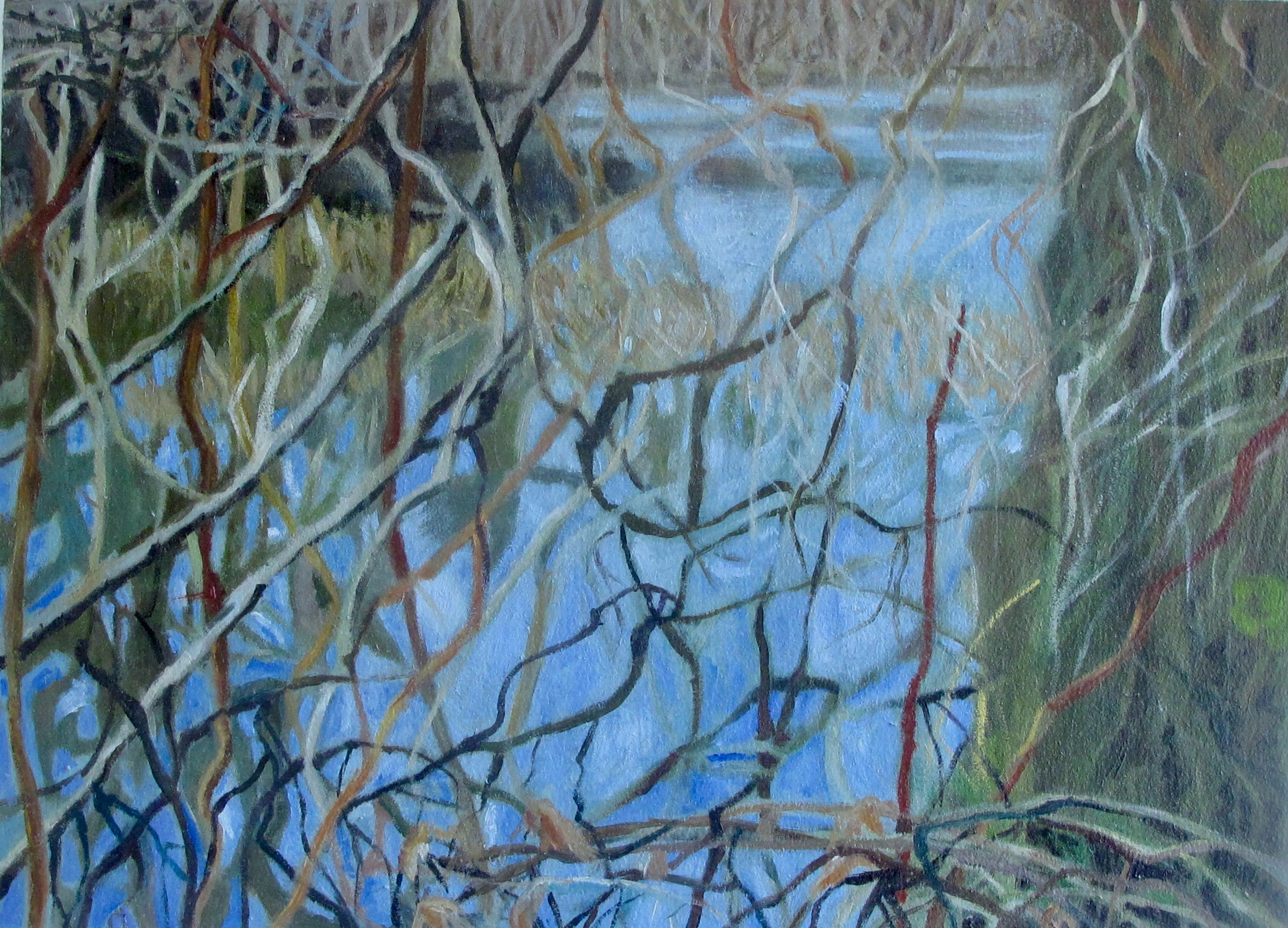 """Winter Marsh, oil on paper 18 x 15 """" with hand cut mat and backing"""