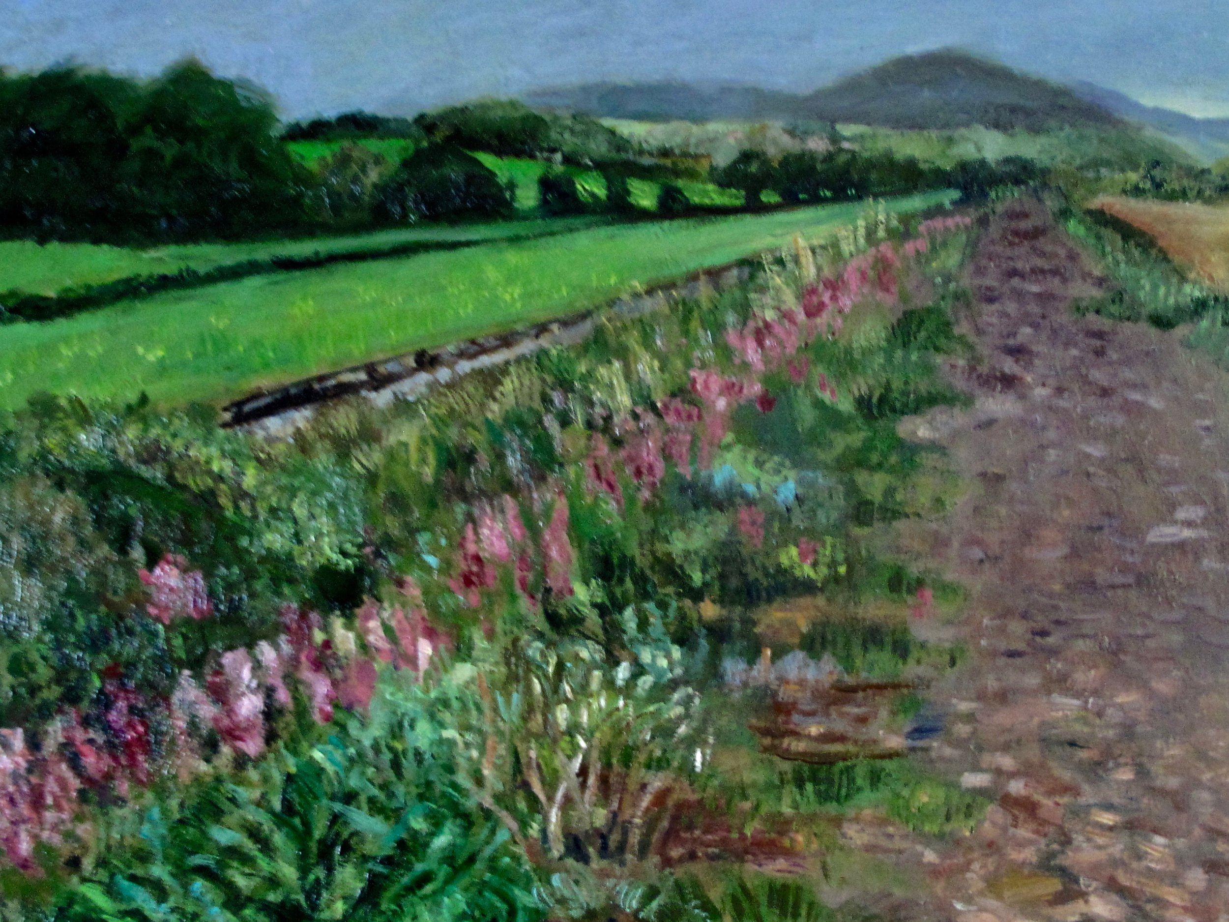 Old Railway Walk   oil on wood , 9 x 12'