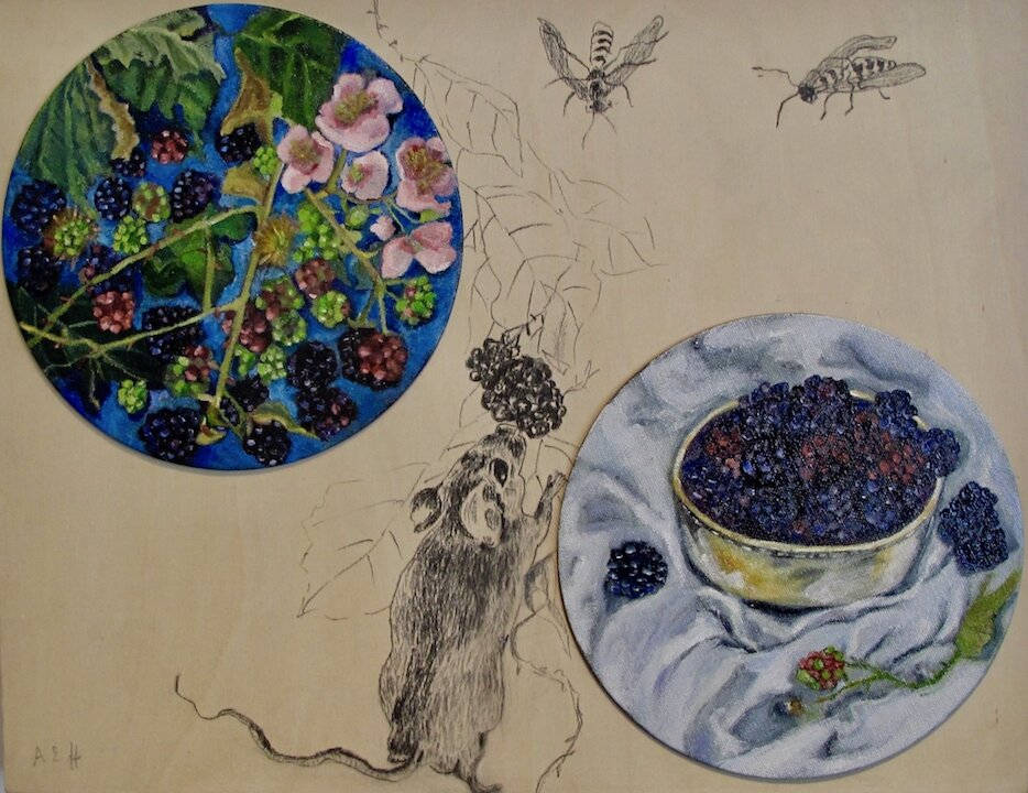 """Blackberry Time""; oil on canvas disks and graphite drawing mounted on birchwood cradled panel 14 x 18"" $500"