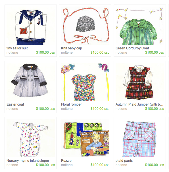 Illustrated vintage childrenswear: You buy the clothing but also get the illustration! A wonderful keepsake for growing babes....(and I will personalize free of charge!)