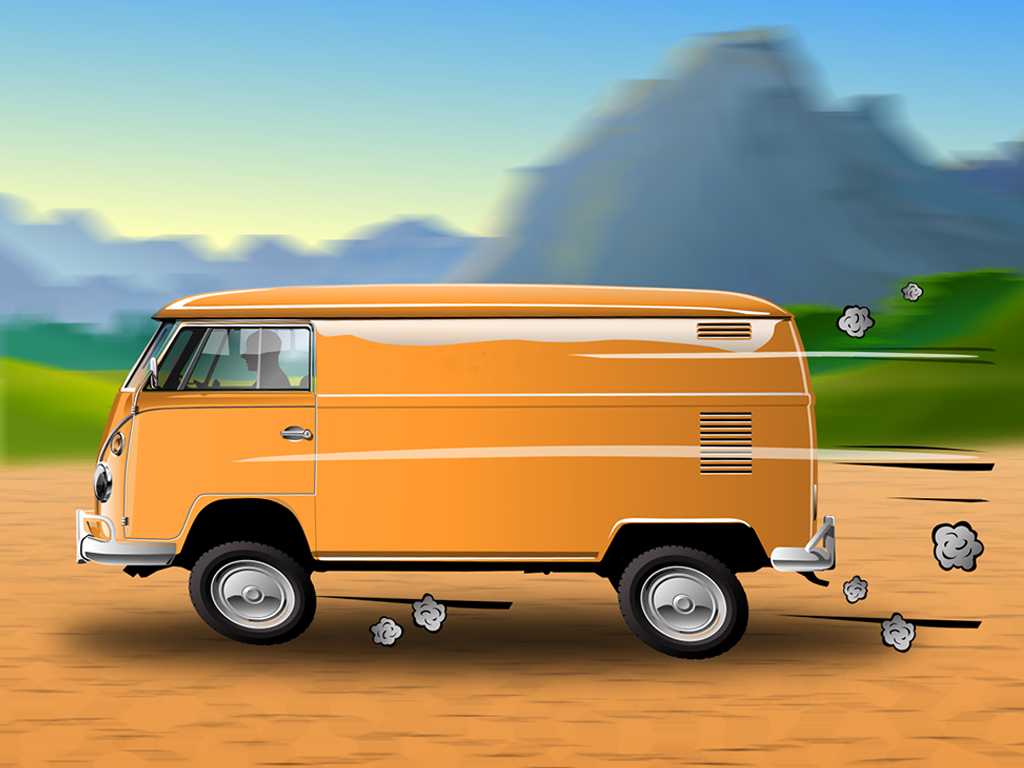 A slower shutter speed and panning with the van will blur the background and convey the sense of motion.