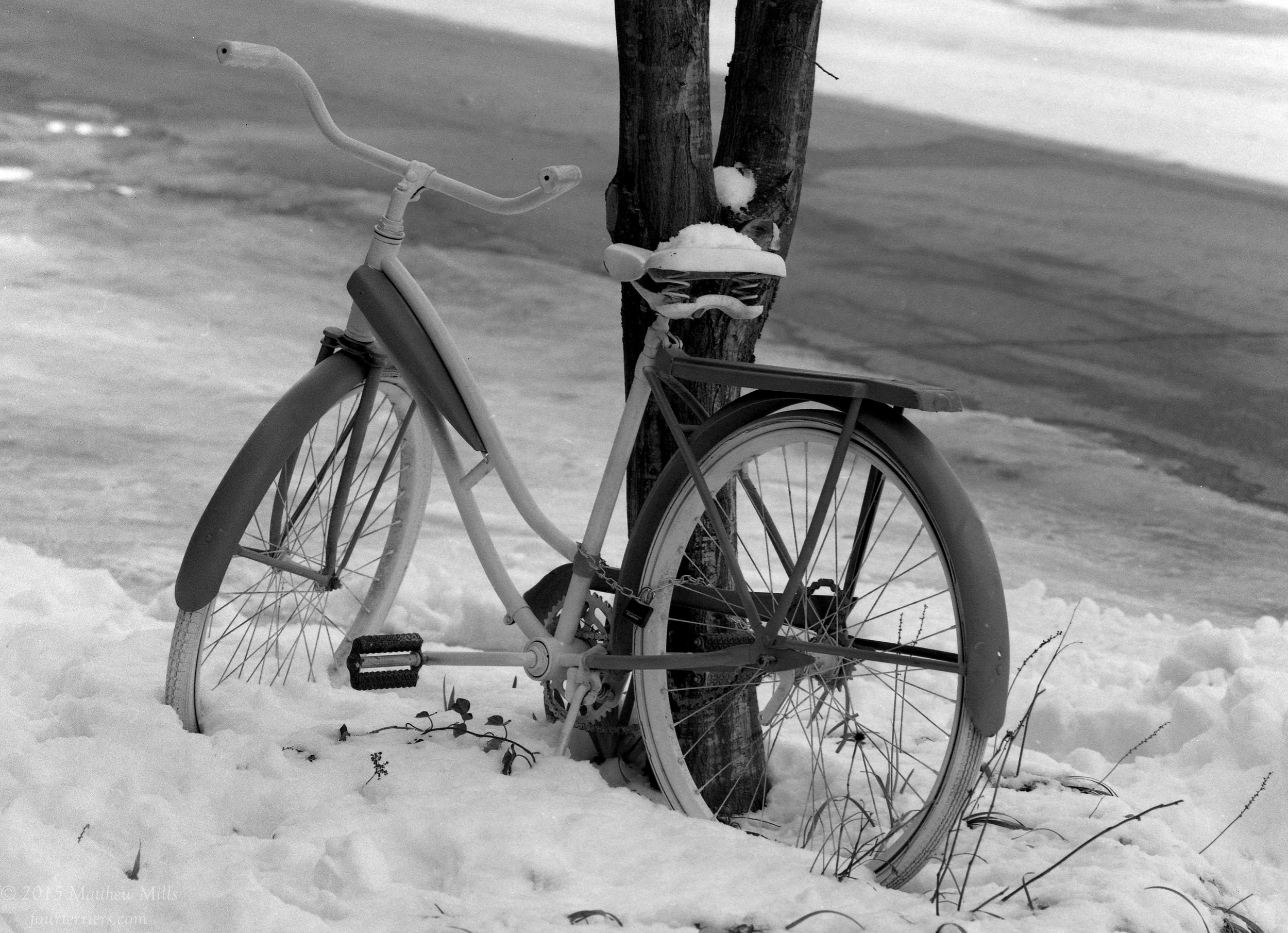 Bike in Snow on a Warm Spring Day