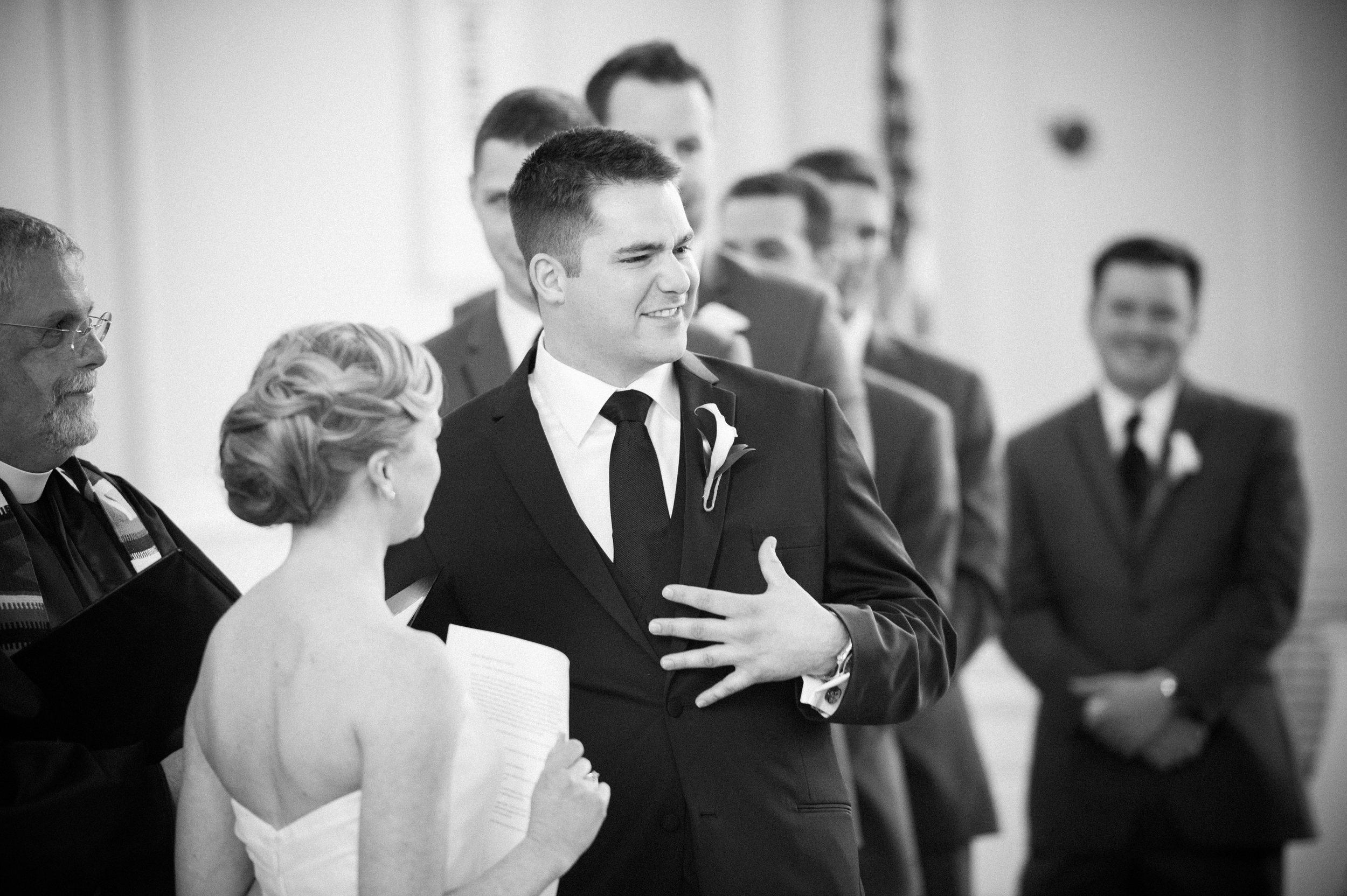 James had to stop the wedding to give the back story to the vows. Classic.