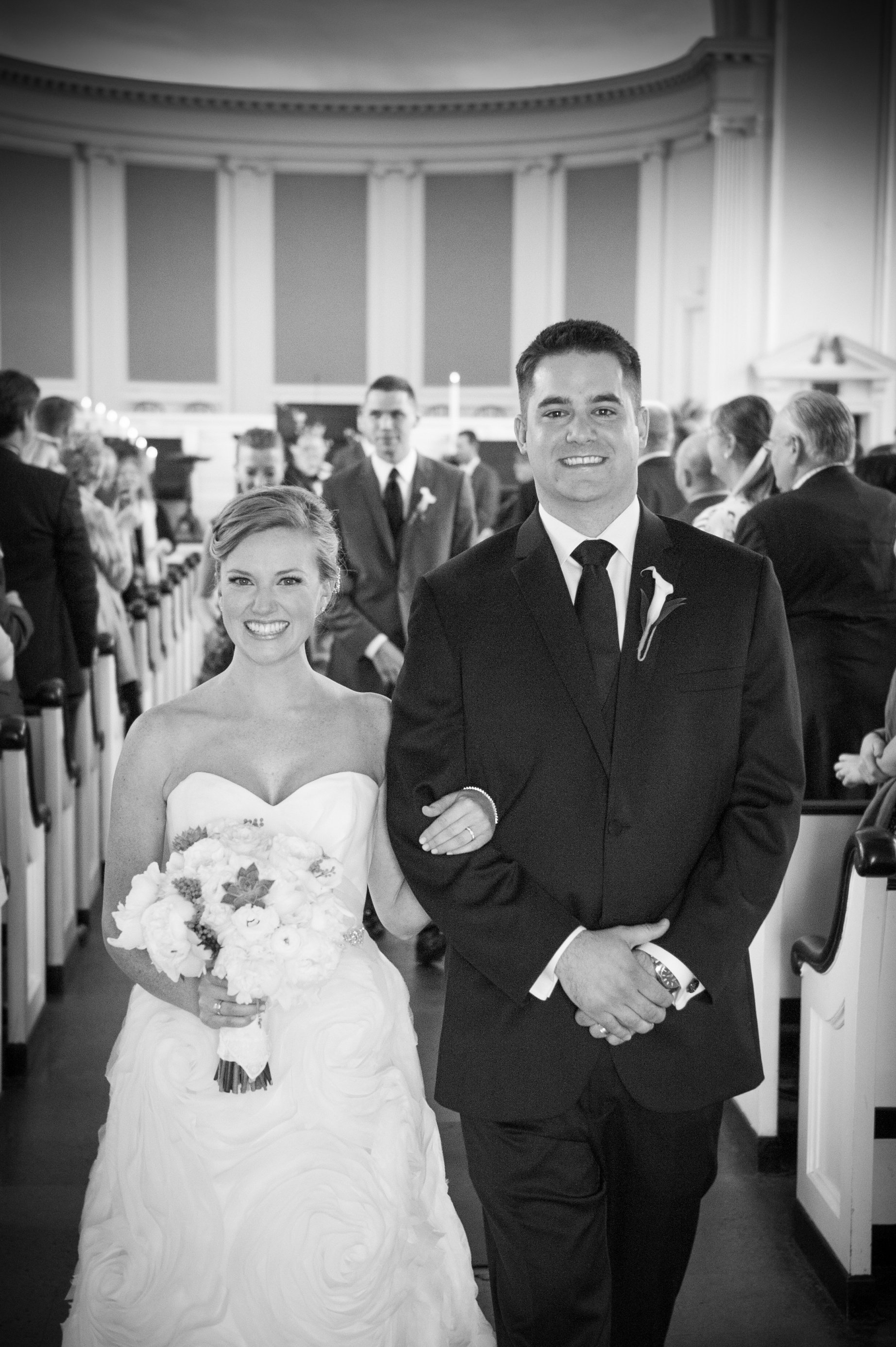 PERFECT BRIDE AND GROOM LEAVING CHURCH