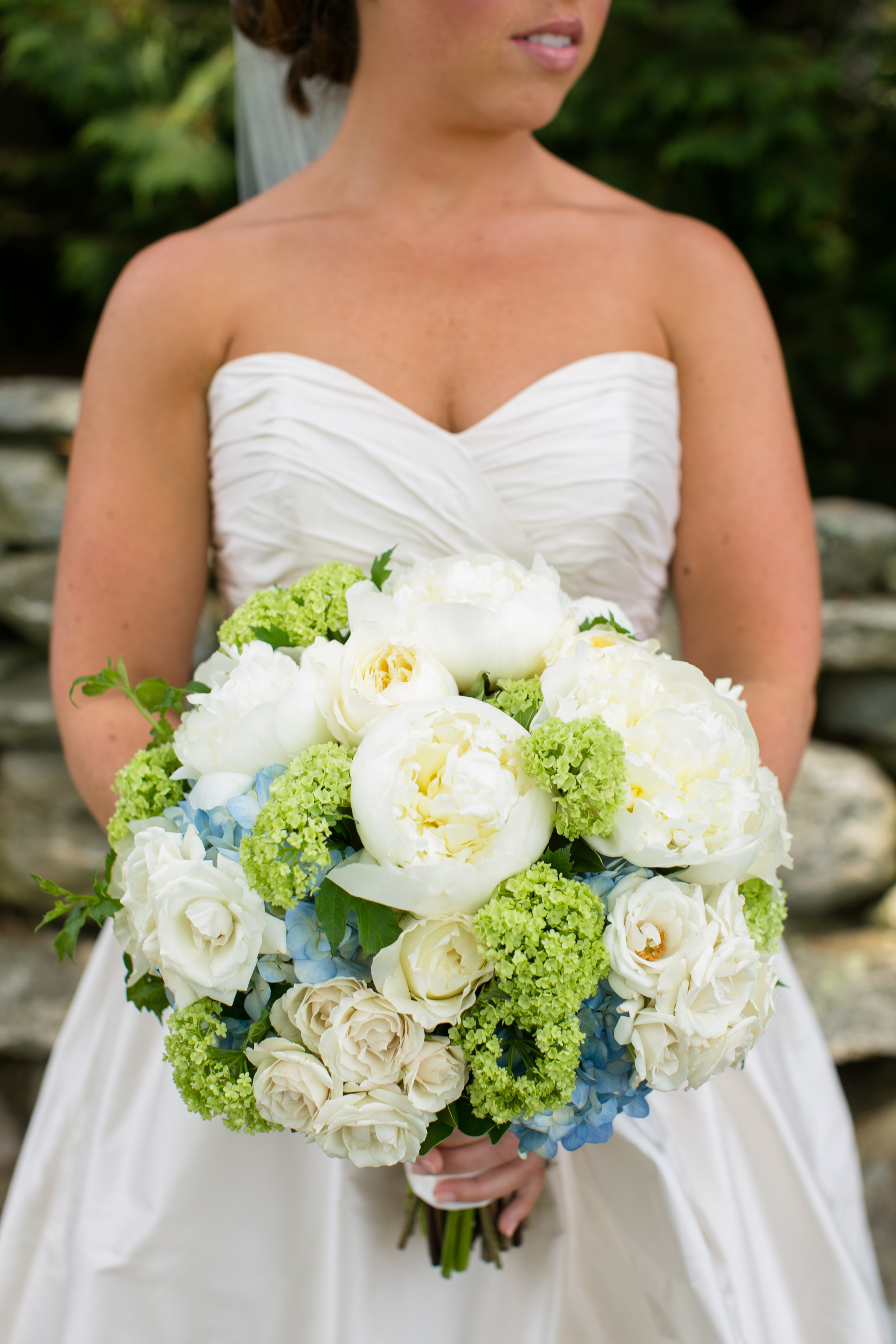 White Green and Blue Wedding Bouquet