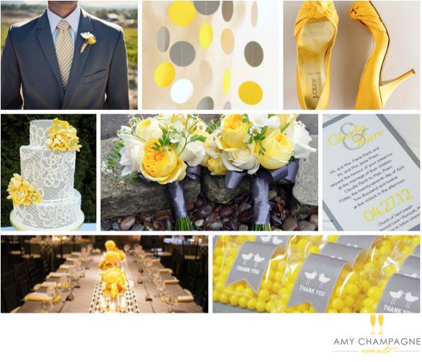 Grey and Yellow Wedding Decor