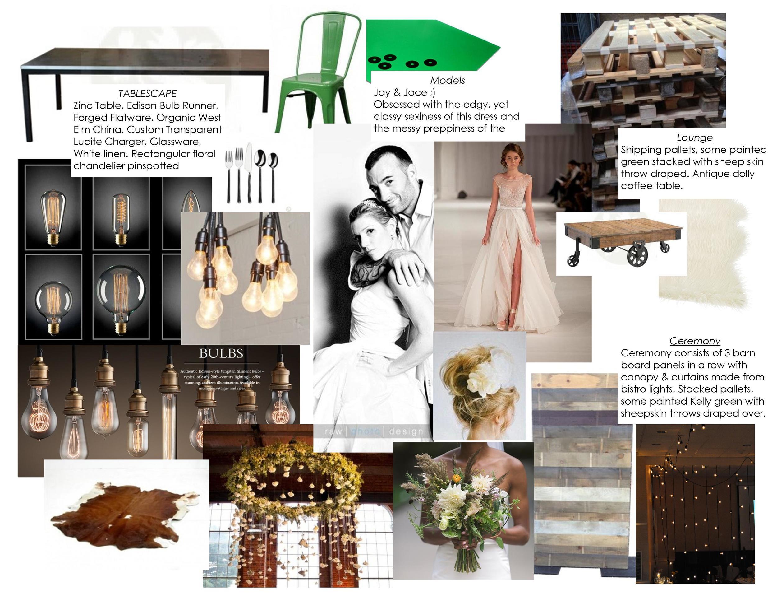 Industrial chic wedding decor