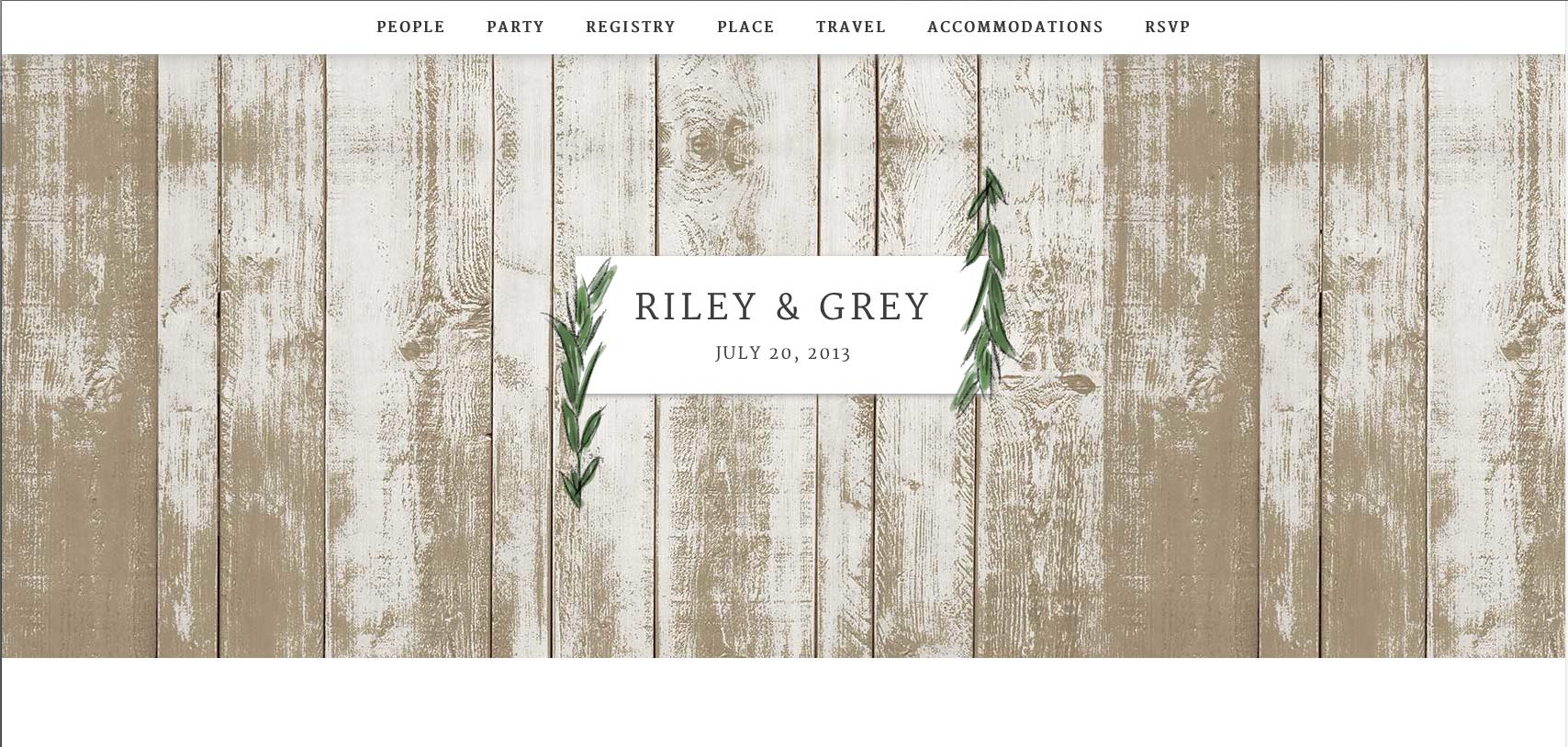 Wedding website CT wedding planner riley & grey