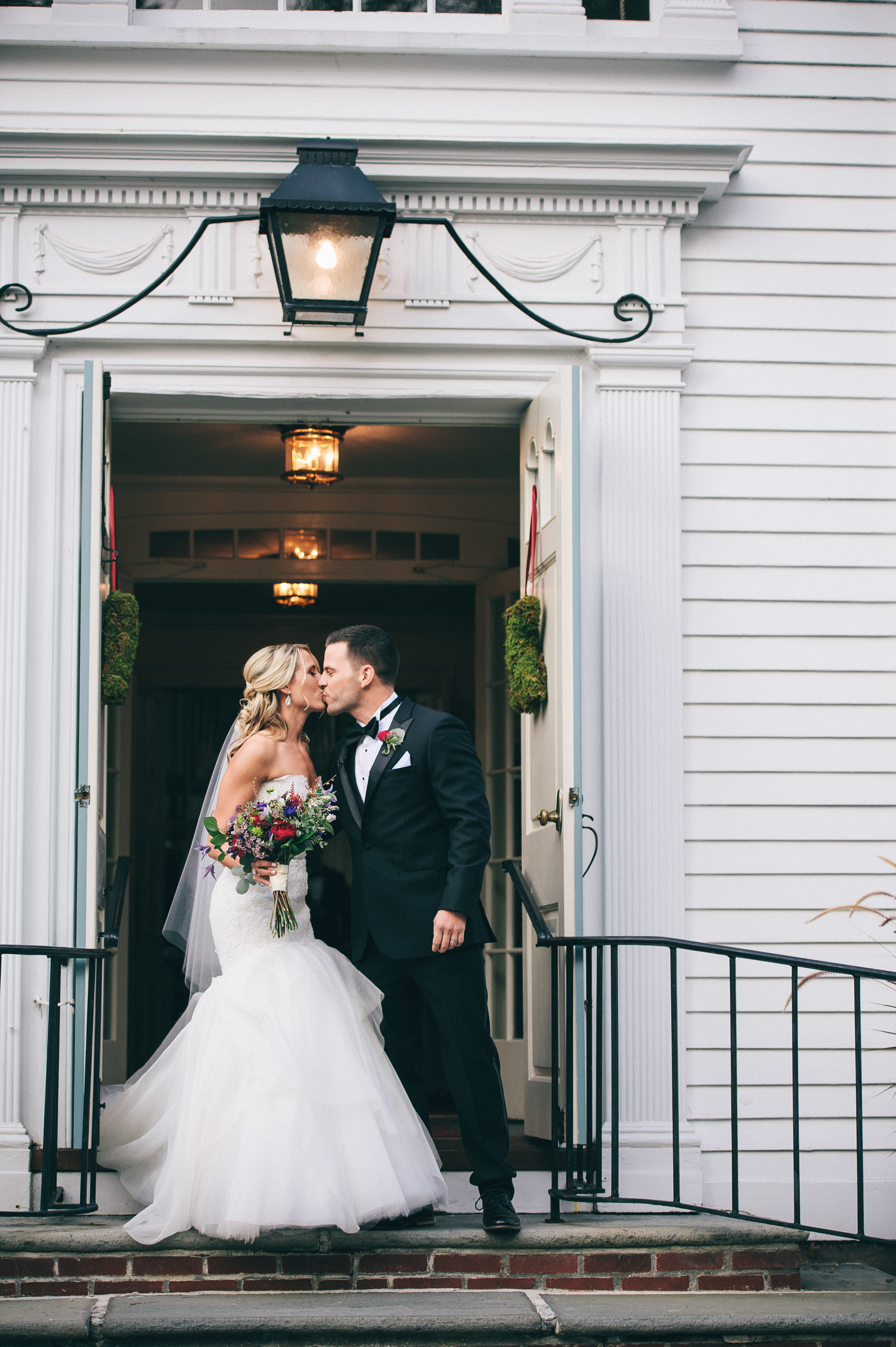 CT Wedding Inn at Longshore Amy Champagne Events Just Married Kiss