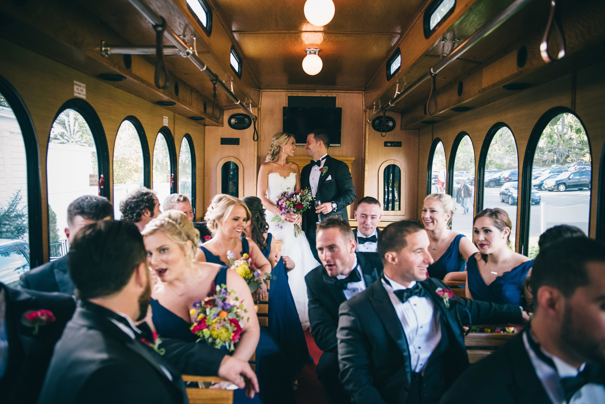 CT Wedding Inn at Longshore Amy Champagne Events Trolley to Reception