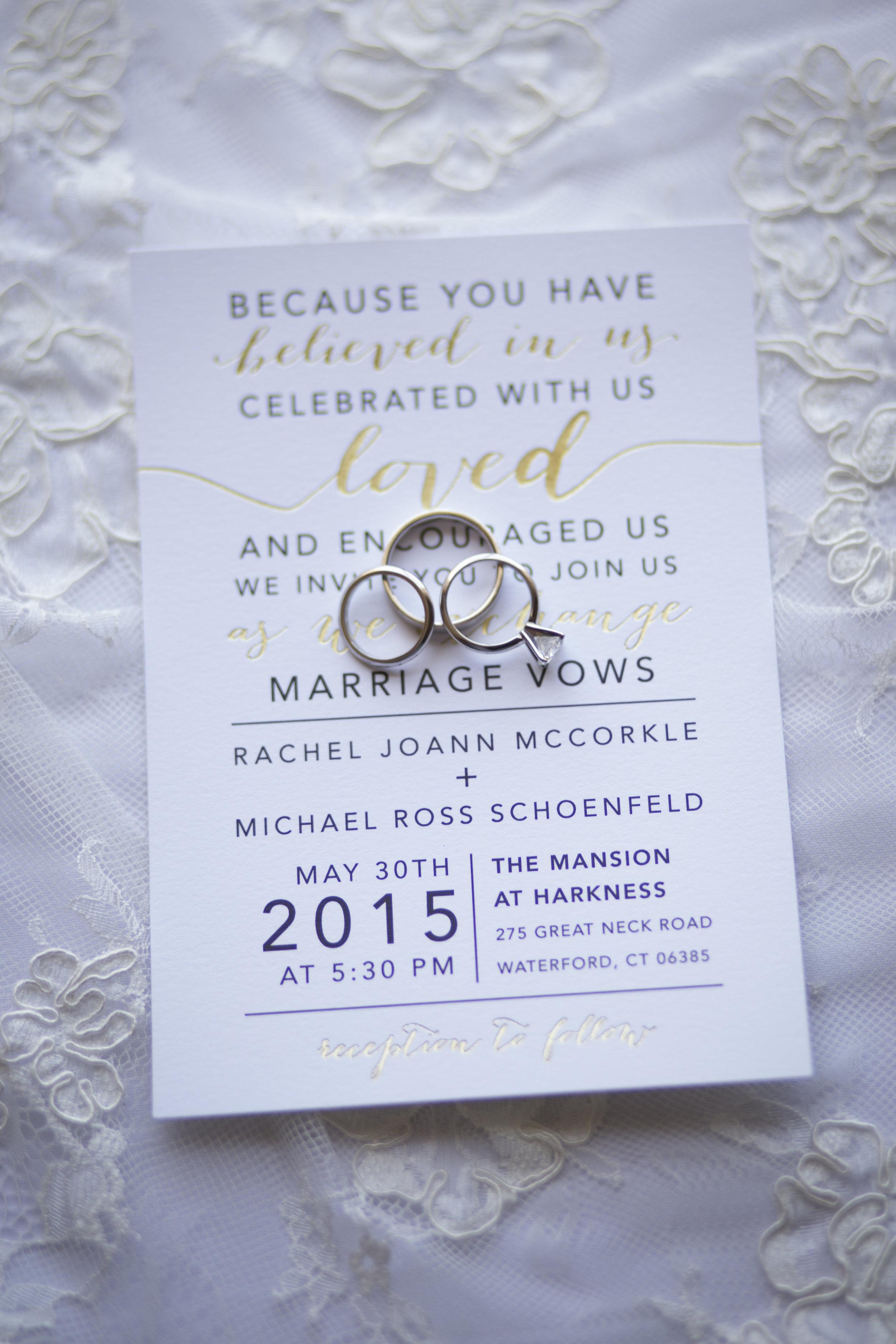 CT Wedding Eolia Mansion Amy Champagne Events Wedding Invitation, Wedding Rings
