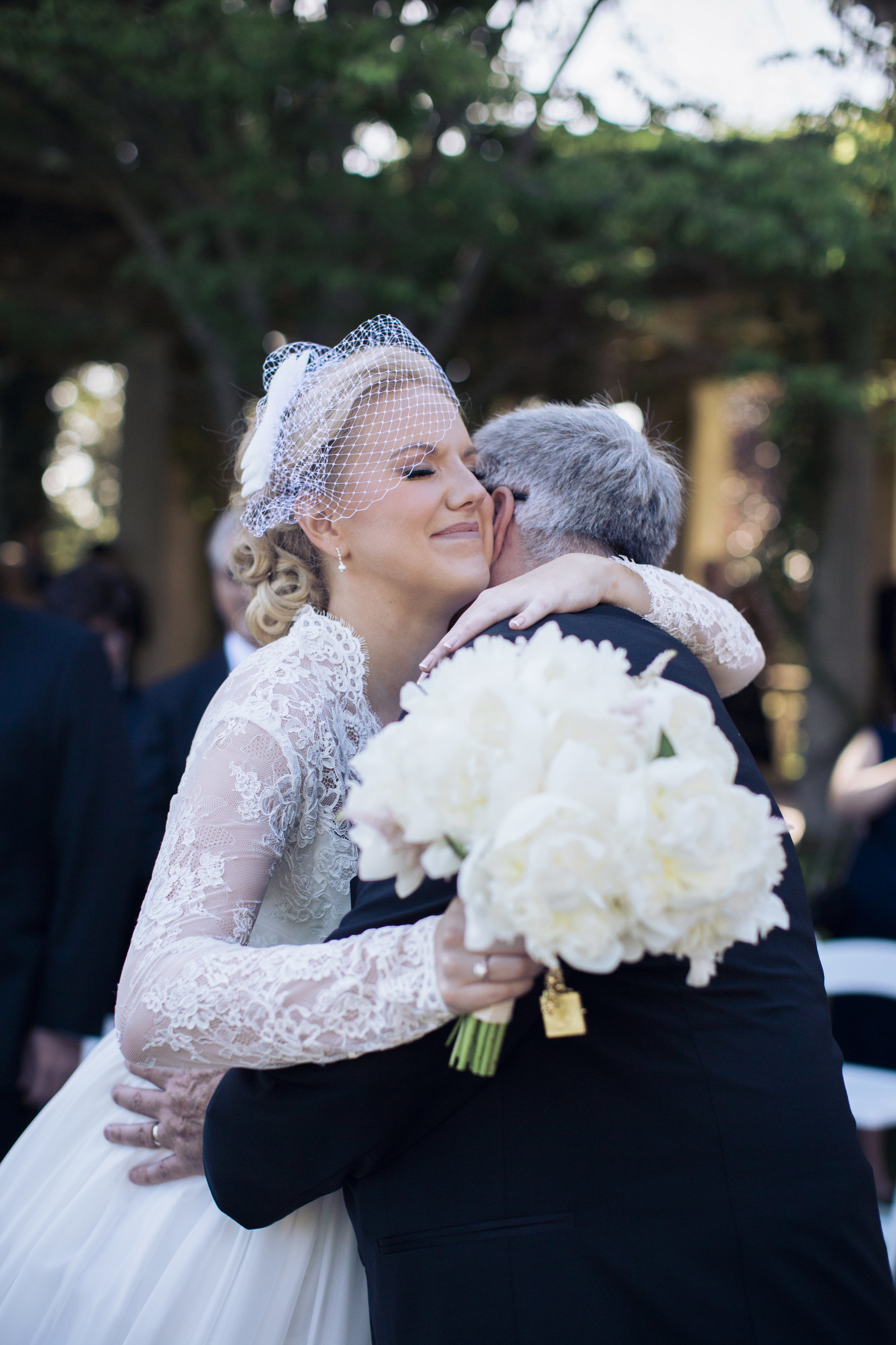 CT Wedding Eolia Mansion Amy Champagne Events Bride Hugging Father