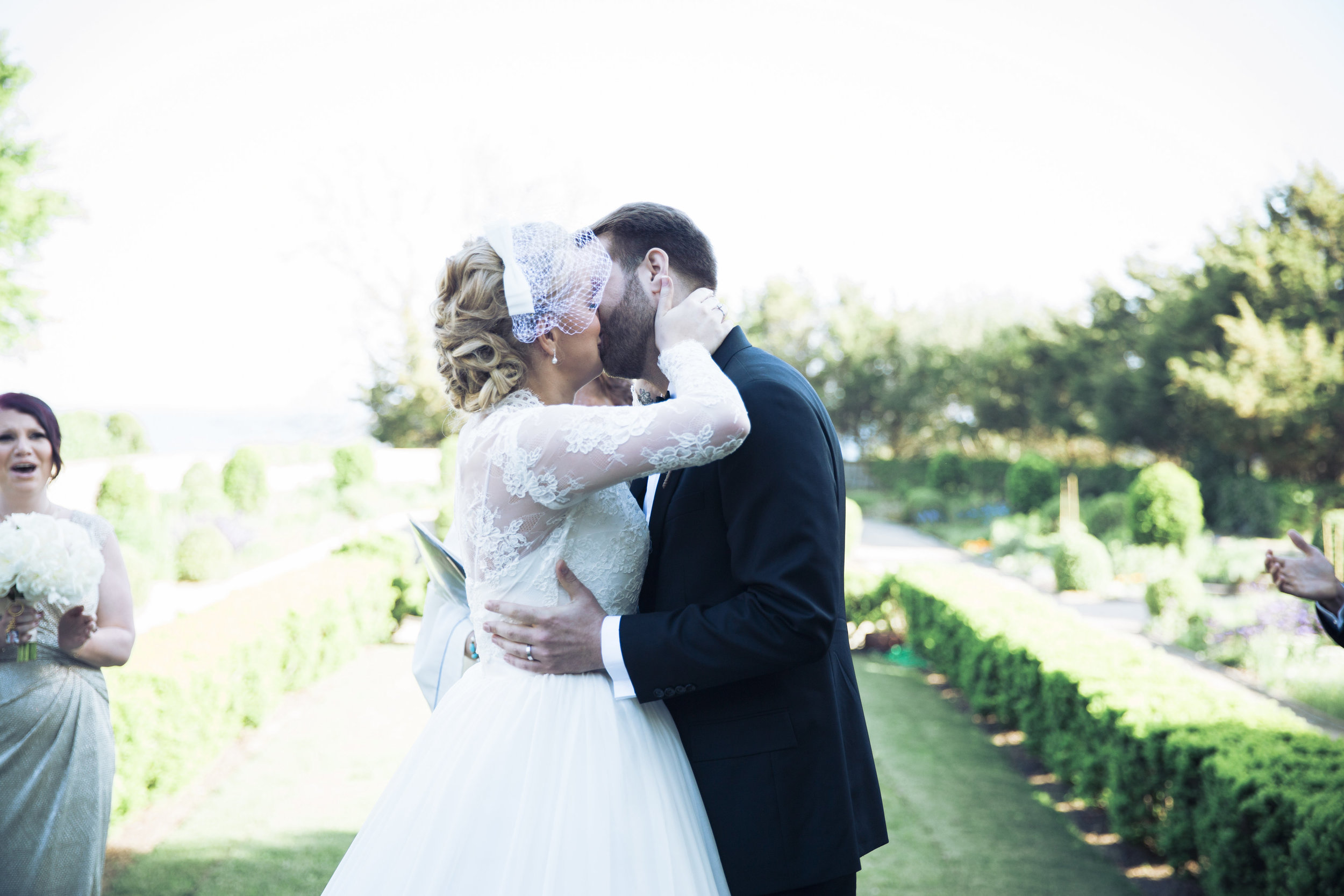 CT Wedding Eolia Mansion Amy Champagne Events Ceremony Kiss