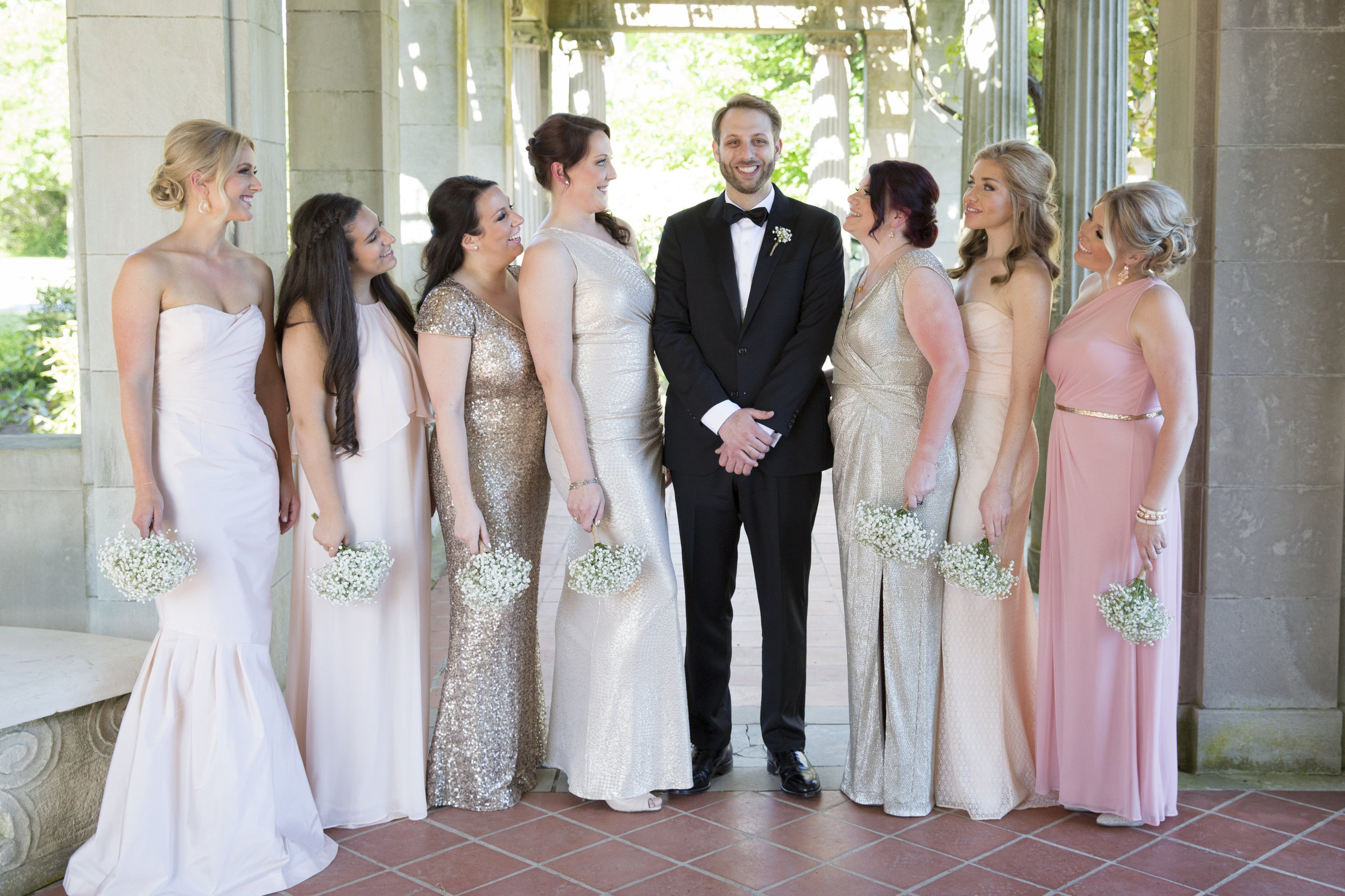CT Wedding Eolia Mansion Amy Champagne Events Bridesmaids with Groom
