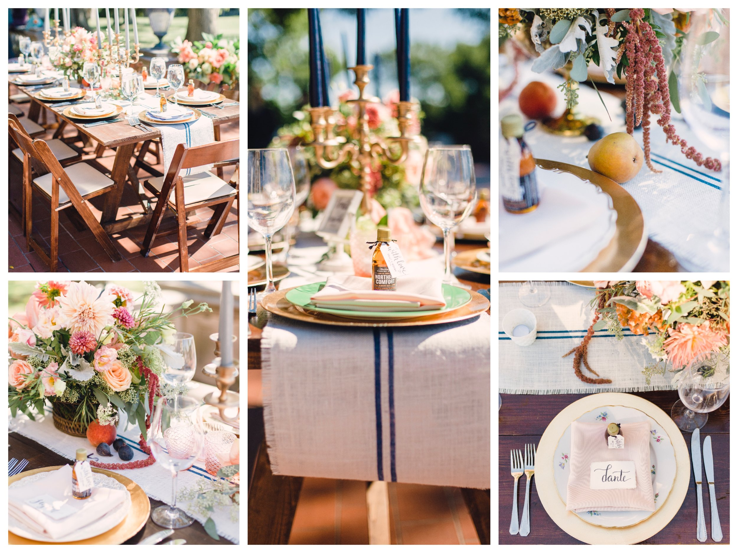 One of the most important things Ashley and Will had discussed with us is that they wanted their guests to really experience the Farm to Table feel of the food and design on the tables. So much so, that we added fresh fruit to the centerpieces!!