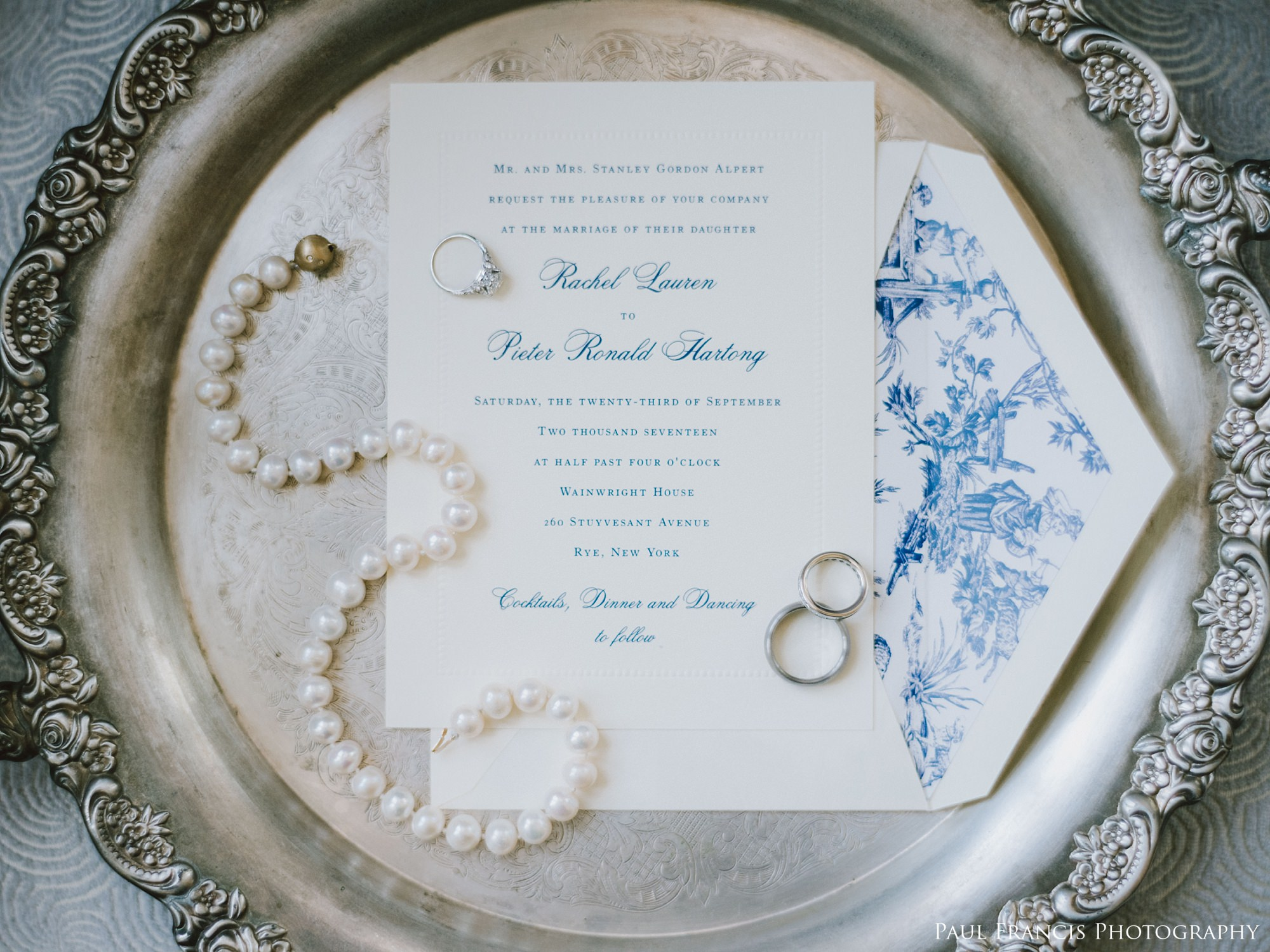 A HUGE shoutout to the incredible women of  Party Party  and  Coral Pheasant . Mary of Party Party helped Rachel and Pieter come up with such a gorgeous invitation design, that really captured the classic and traditional feel of their event with that prominent pop of French Blue. And thanks to Nichole of Coral Pheasant, we were able to complete the look with this STUNNING custom toile envelope liner!