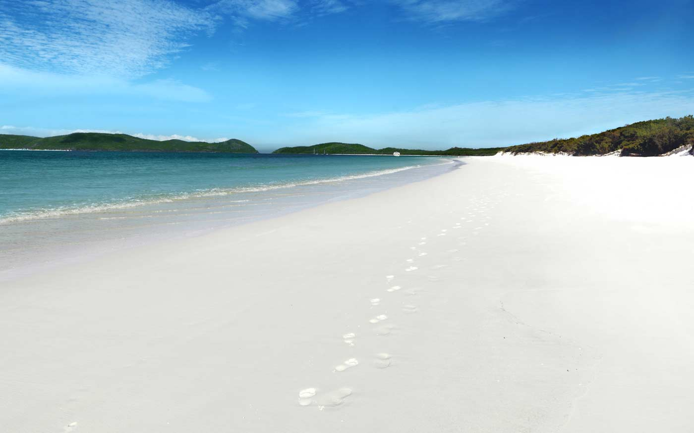 Whitehaven Beach with its 98% pure silica white sand