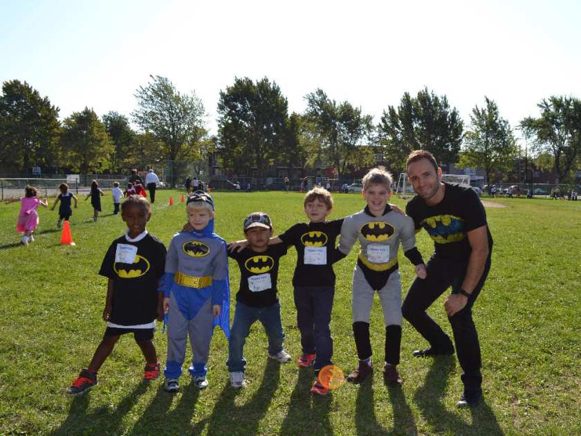 Students from Kindergarten through Grade 3 at Nesbitt Elementary School, with spiritual community animator Vince Lacroce, dressed up as superheroes on Sept. 17, 2015 in honour of the 35th year of the Terry Fox Run.