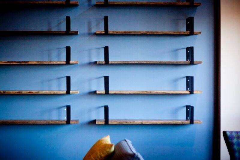 reclaimed wood industrial shelves