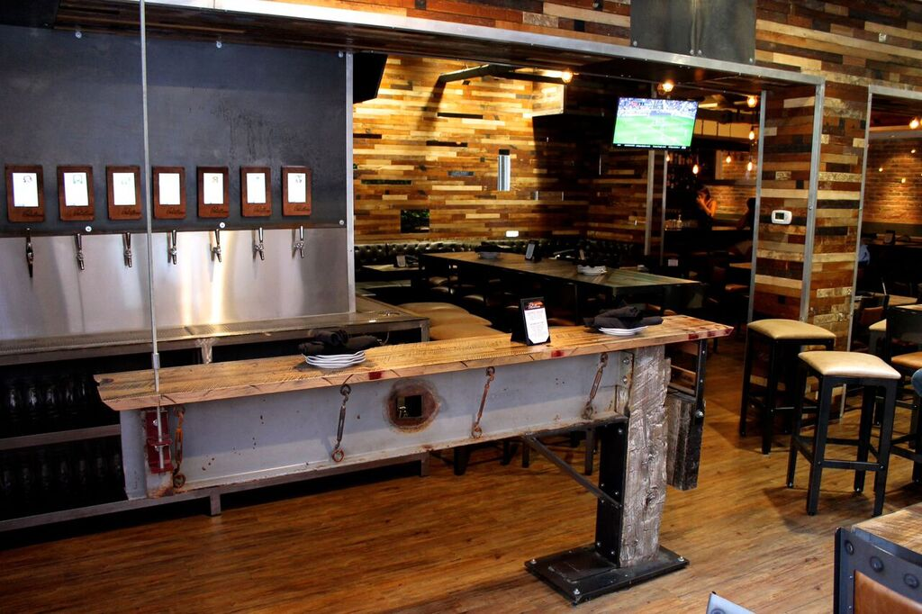 industrial style reclaimed wood bar