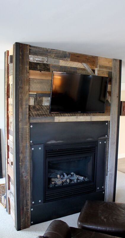reclaimed industrial fireplace feature