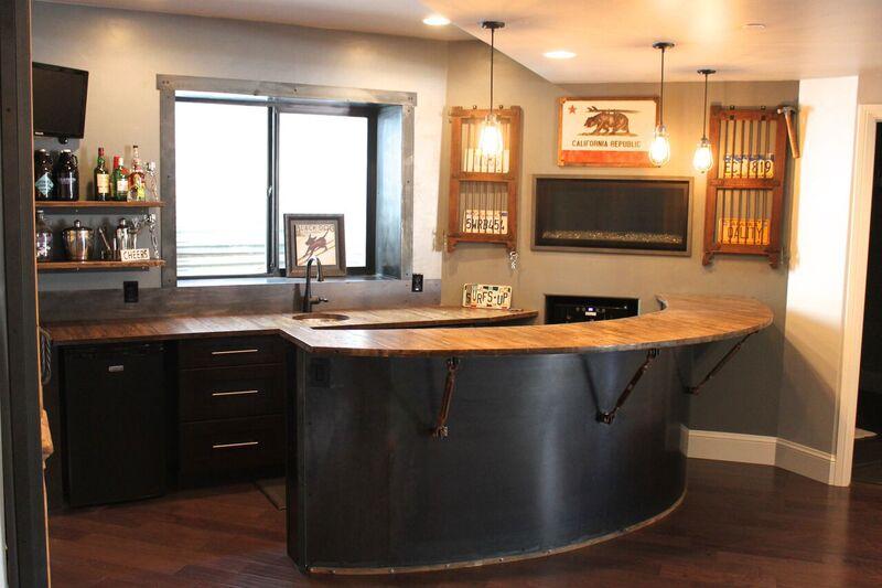 reclaimed industrial home bar