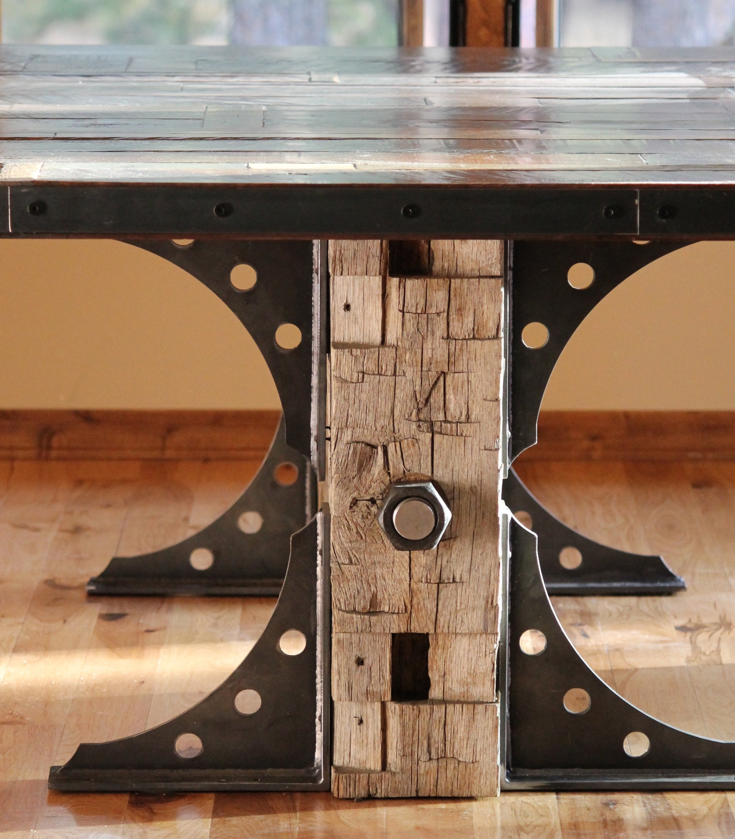 modern industrial reclaimed materials table