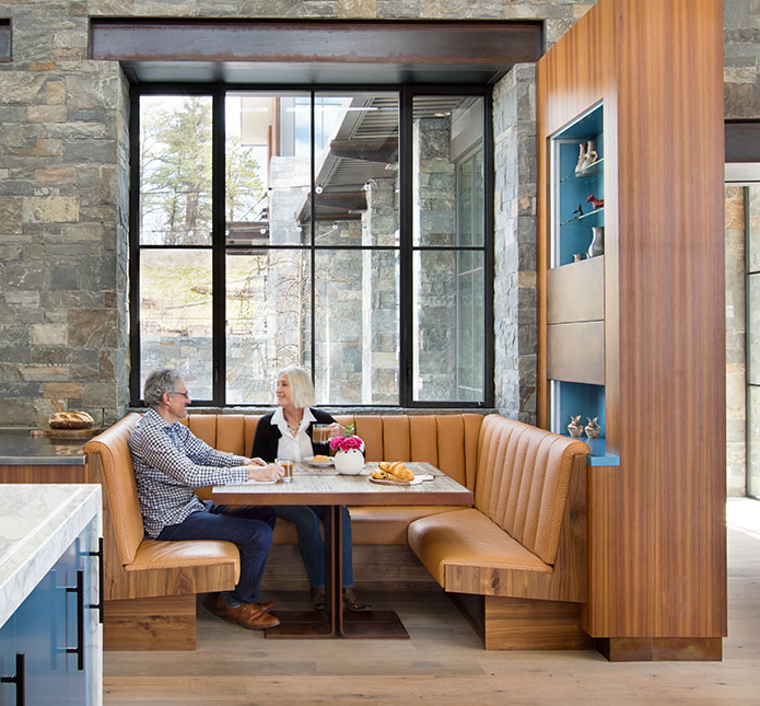 2017 Colorado Homes and Lifestyle Magazine Home of the Year - Breakfast table / Built in box car shelves / guest home bar / outdoor teak benches / mantle