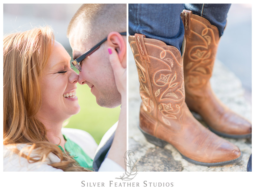 Cowboy boots look fabulous on the streets of Chapel Hill, North Carolina.  © Silver Feather Studios, Chapel Hill Wedding Videography andPhotography