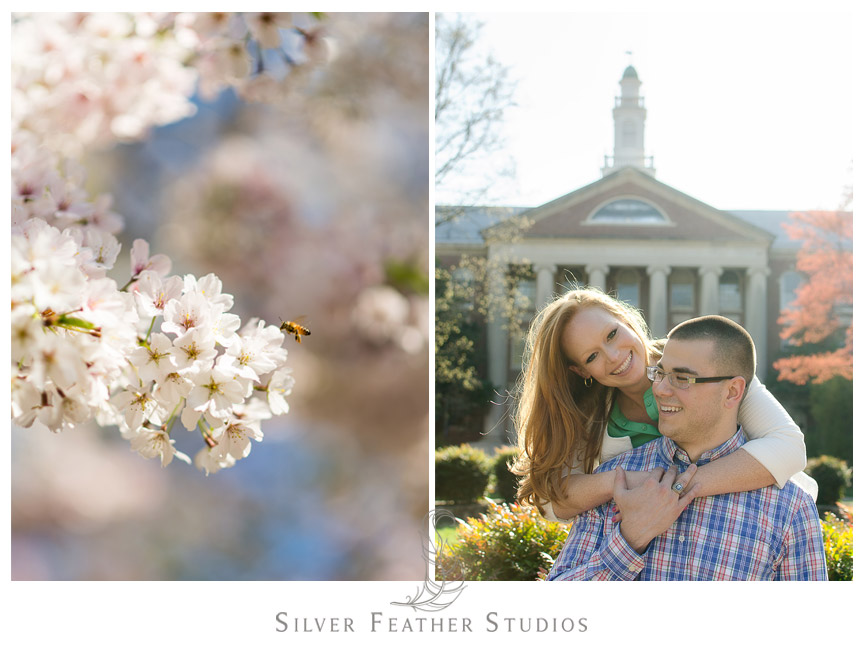 Erin and Adam pose in front of the buildings at their Chapel Hill engagement session.  © Silver Feather Studios, Chapel Hill Wedding Videography andPhotography