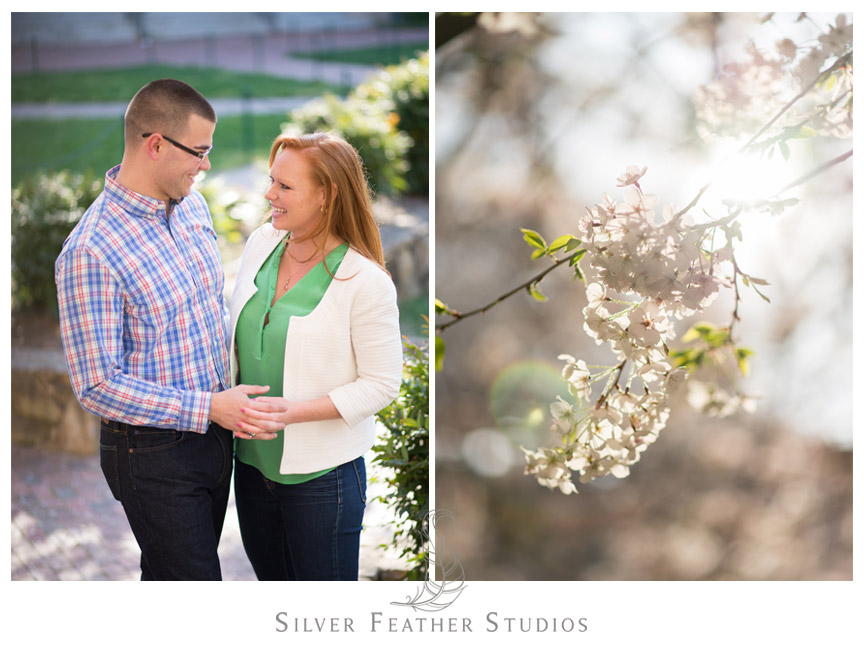 Bride and groom-to-be pose at UNC Chapel Hill for their spring engagement session.  © Silver Feather Studios, Chapel Hill Wedding Videography andPhotography