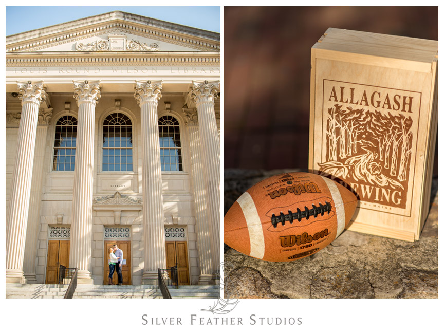 Another pose in front of the Louis Round Wilson Library and an Allagash wine box to display this couple's quirky personality.  © Silver Feather Studios, Chapel Hill Wedding Photography and Videography